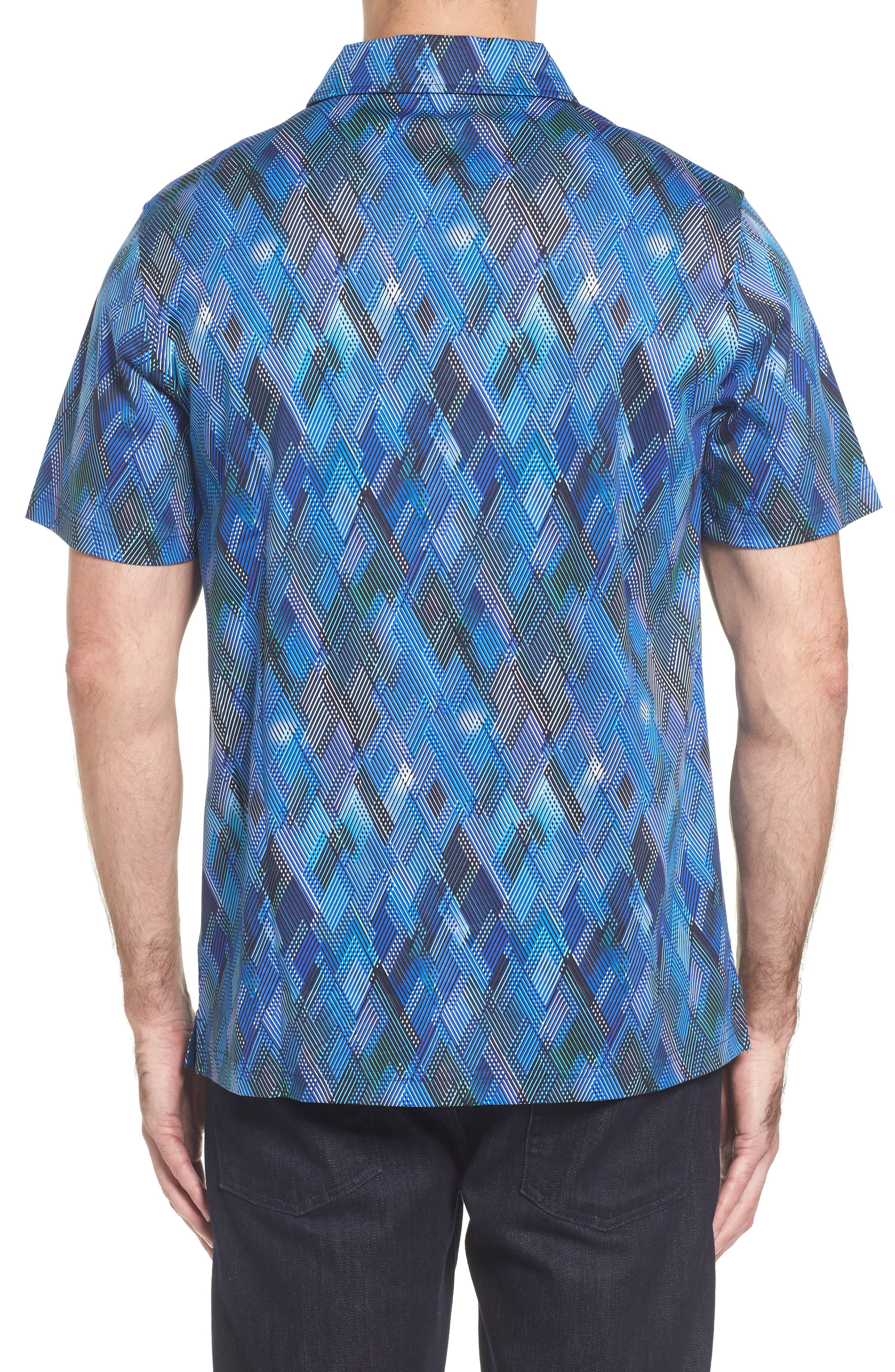Classic Fit Diamond Grid Polo,                             Alternate thumbnail 2, color,