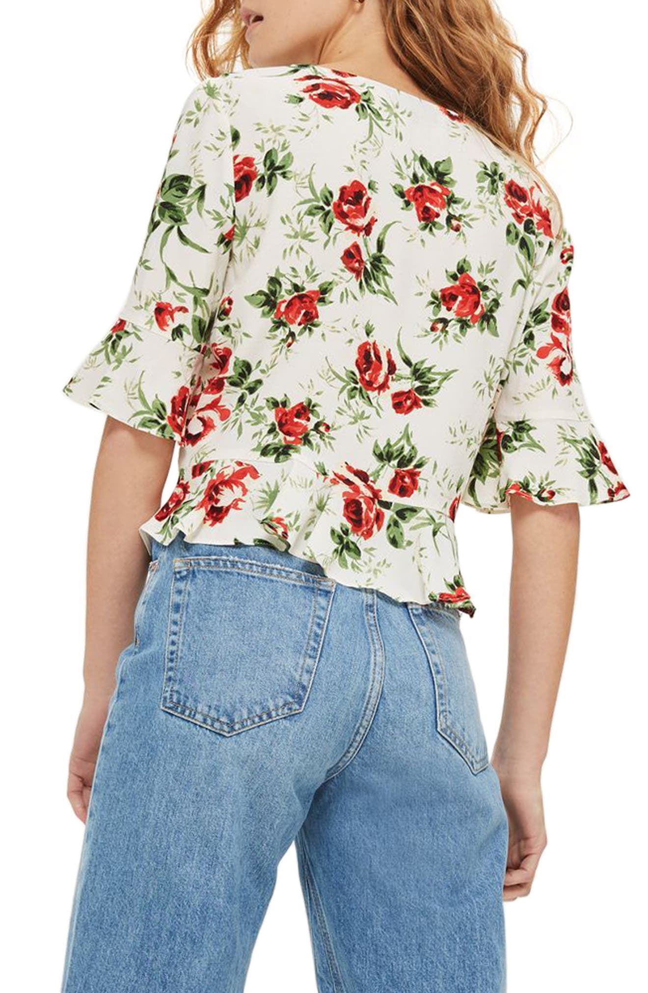 Rose Ruched Front Top,                             Alternate thumbnail 2, color,                             900