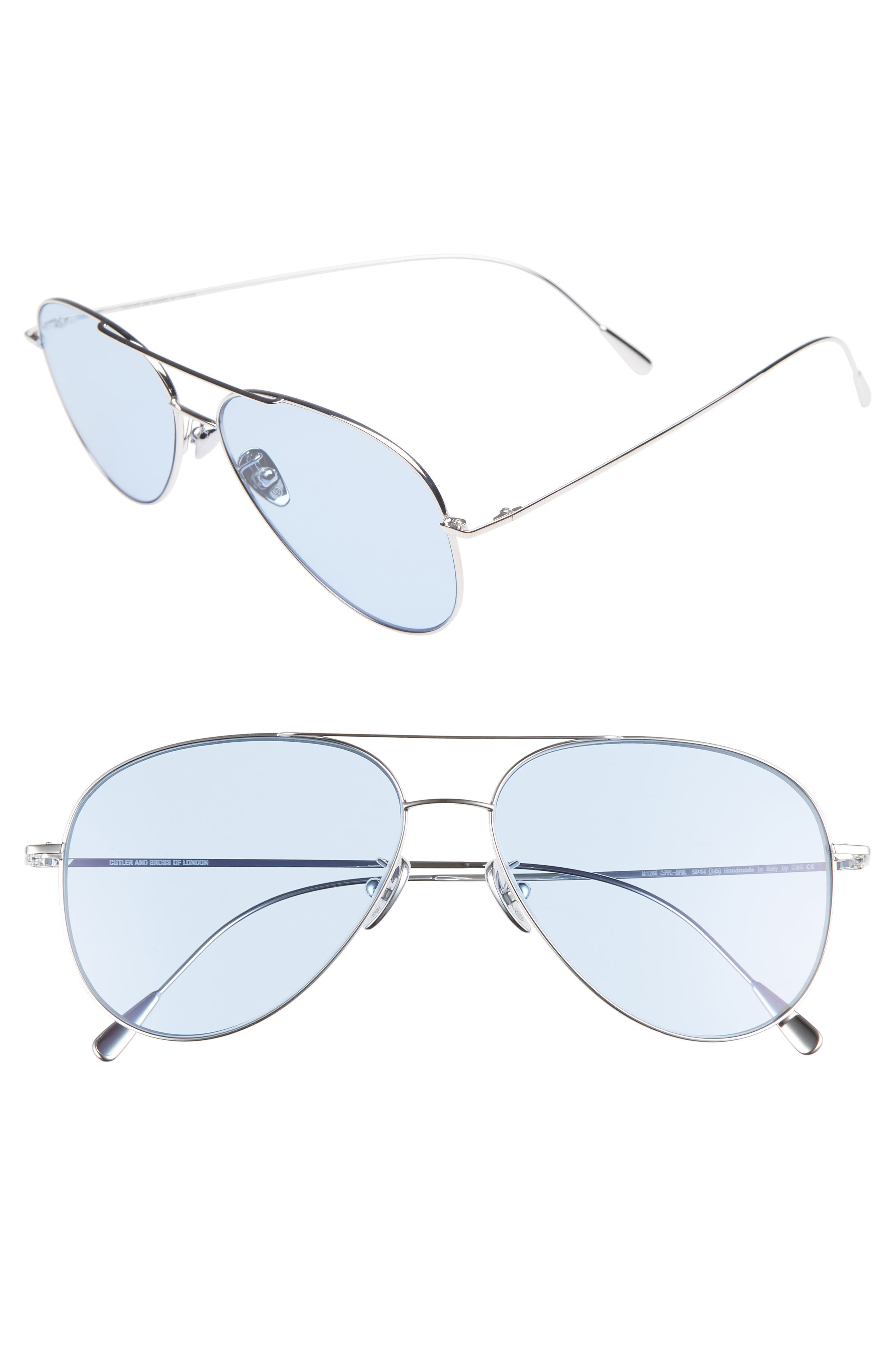 58mm Polarized Aviator Sunglasses,                             Main thumbnail 1, color,                             PALLADIUM/ BLUE