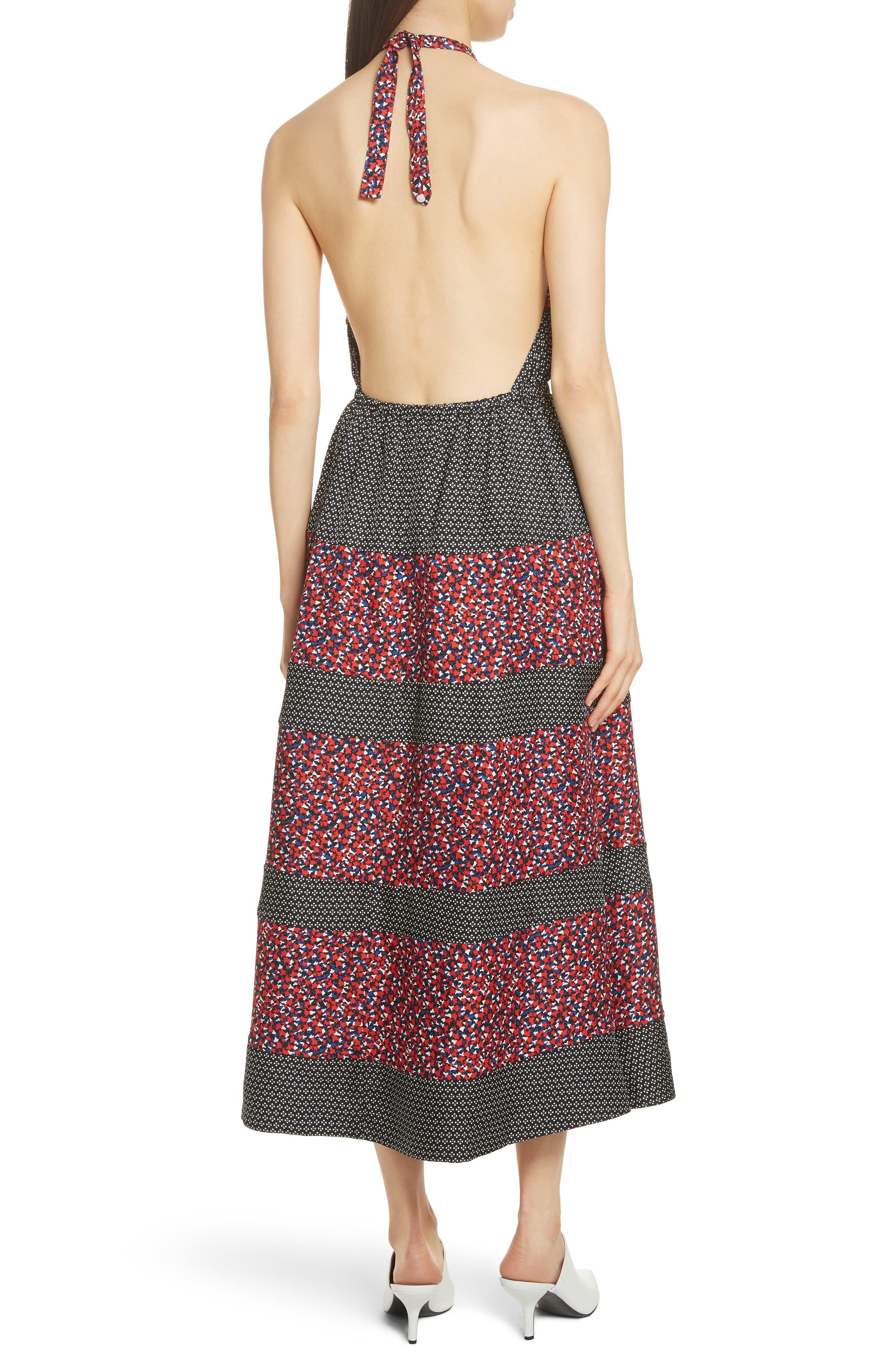 Mixed Print Halter Dress,                             Alternate thumbnail 2, color,                             601