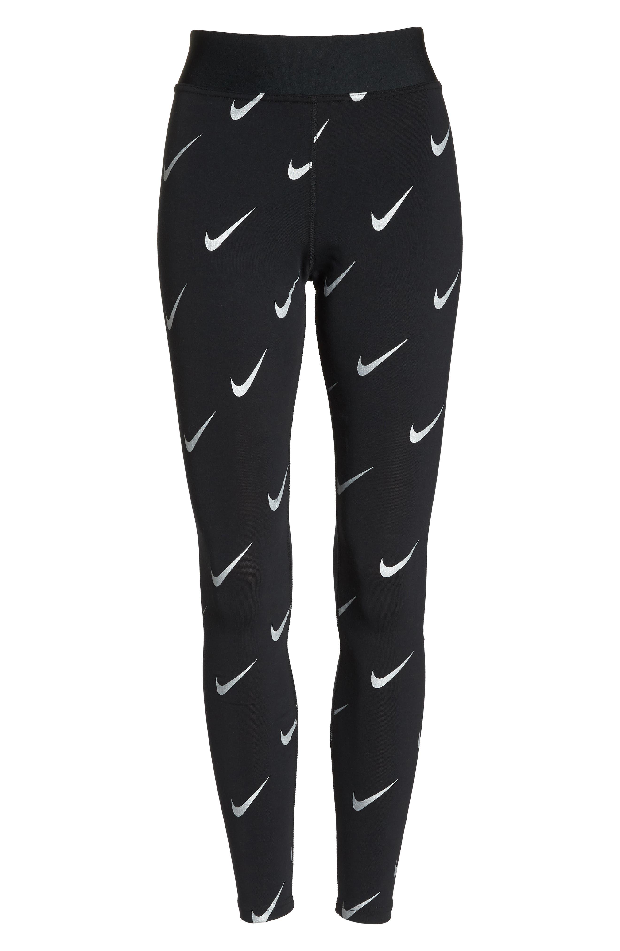 Sportswear Allover Print Logo Leggings,                             Alternate thumbnail 7, color,                             BLACK