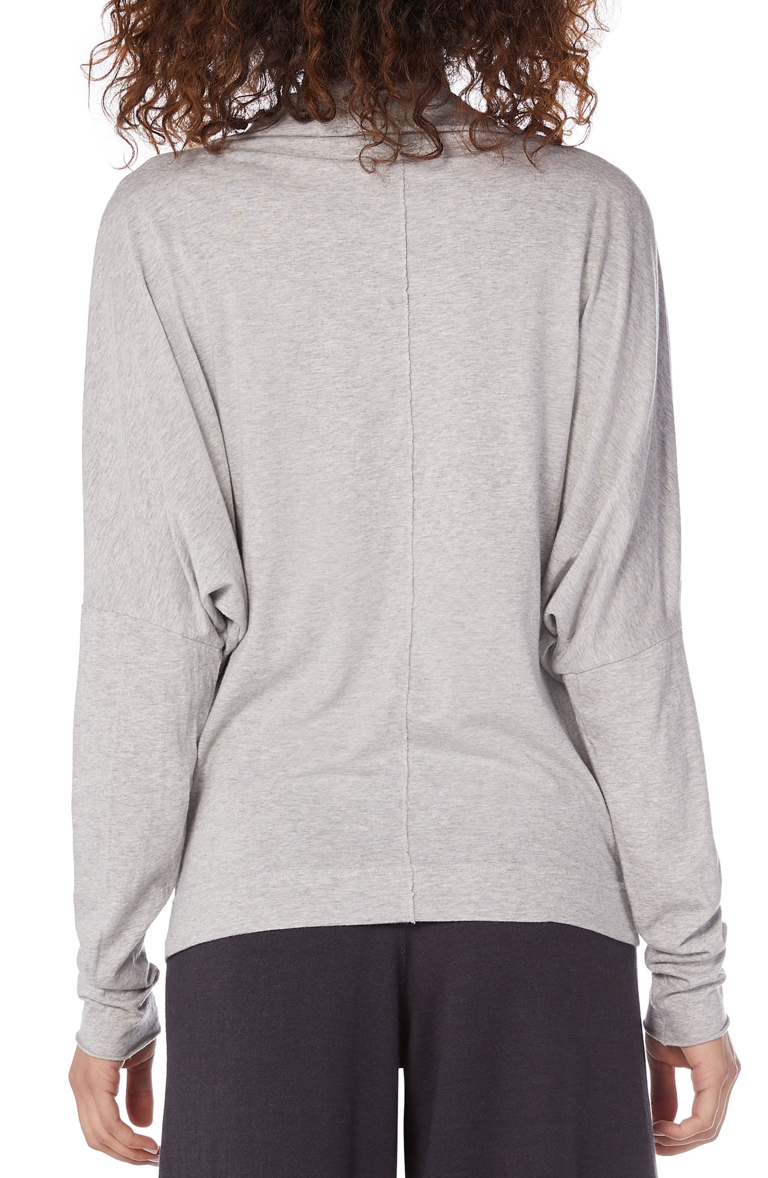 Ultra Jersey Open Neck Top,                             Alternate thumbnail 2, color,                             HEATHER GREY