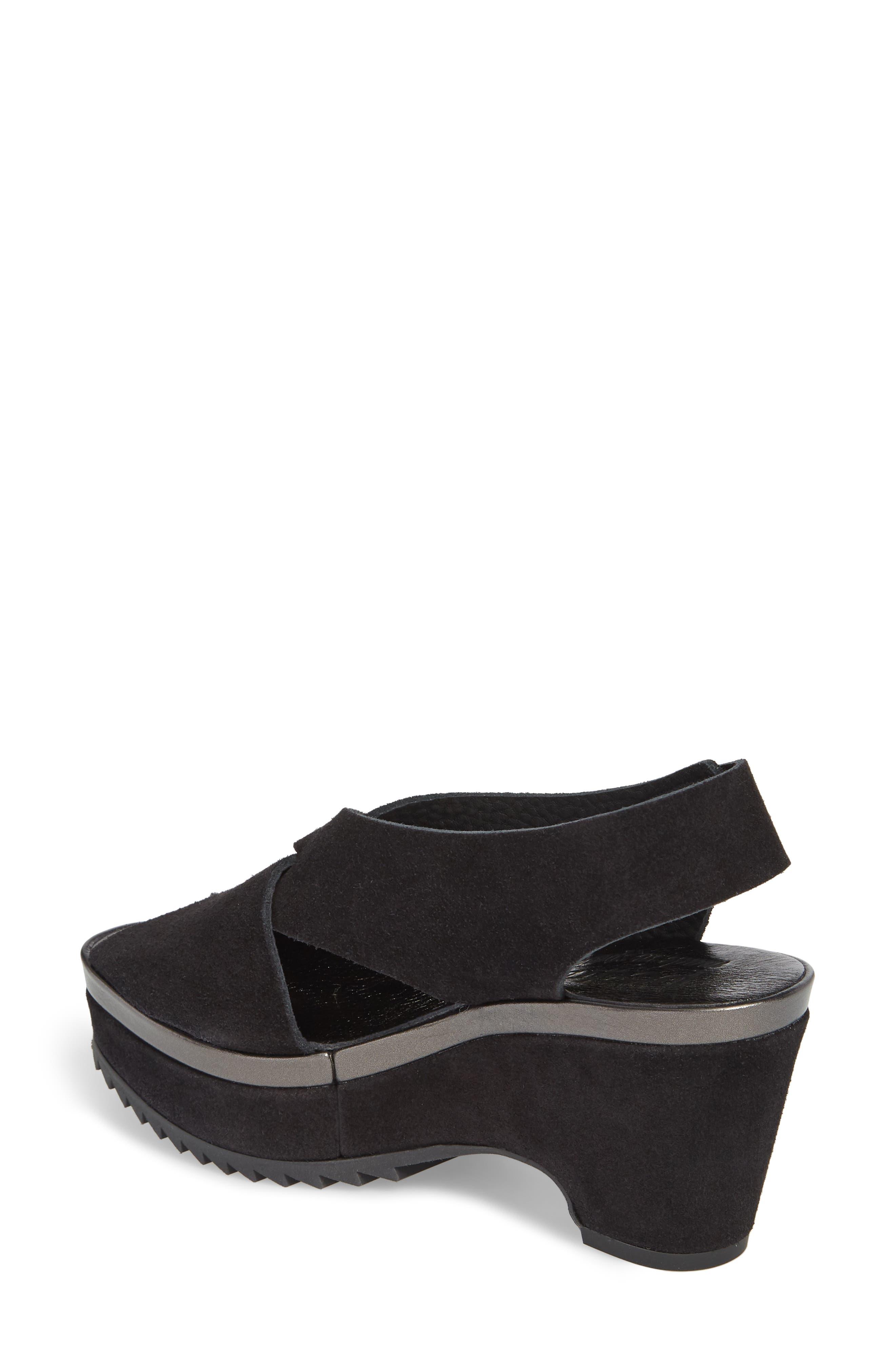 Fayre Cross Strap Wedge Sandal,                             Alternate thumbnail 2, color,                             BLACK
