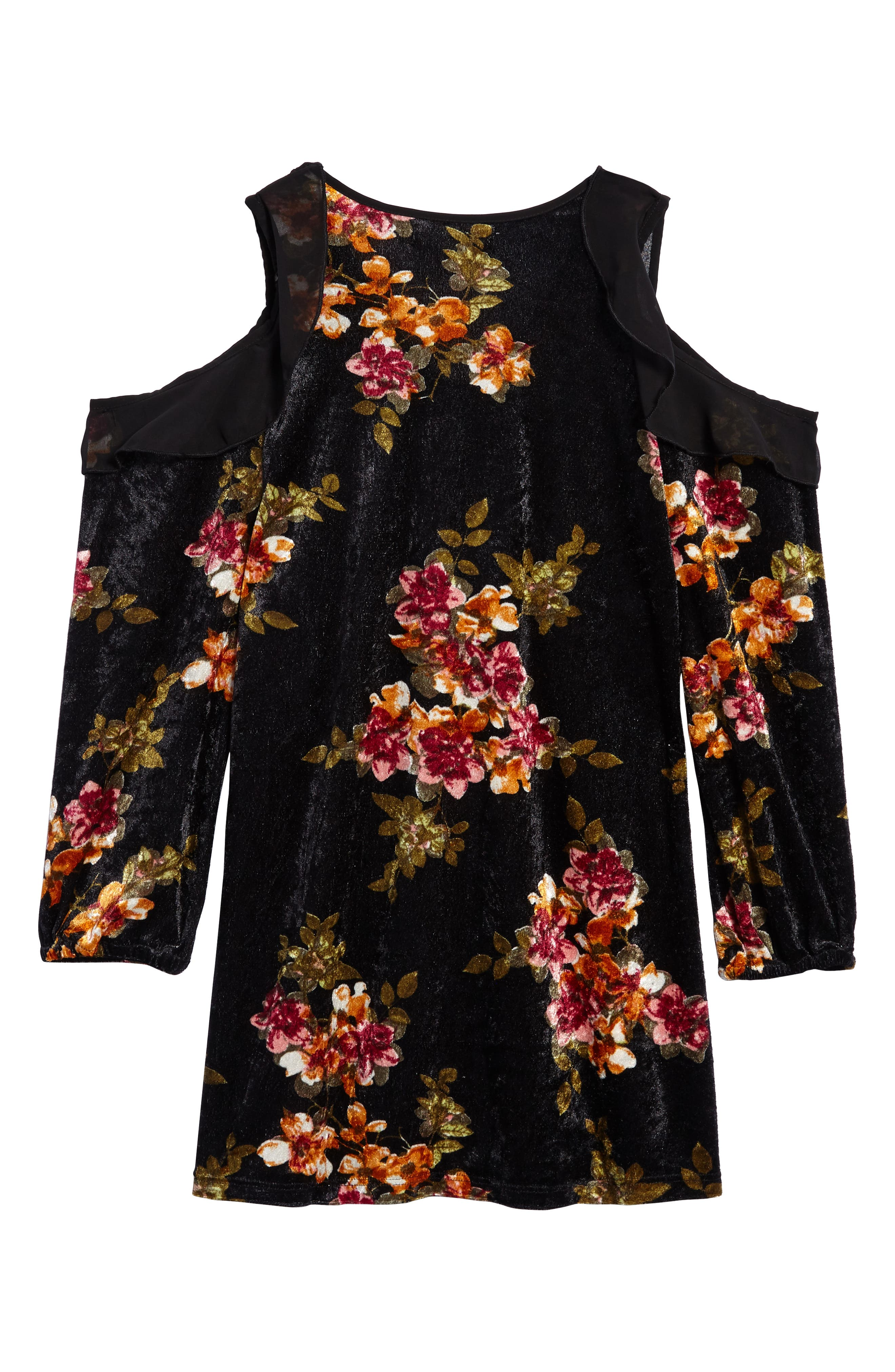 Floral Velvet Cold Shoulder Dress,                             Alternate thumbnail 2, color,                             019