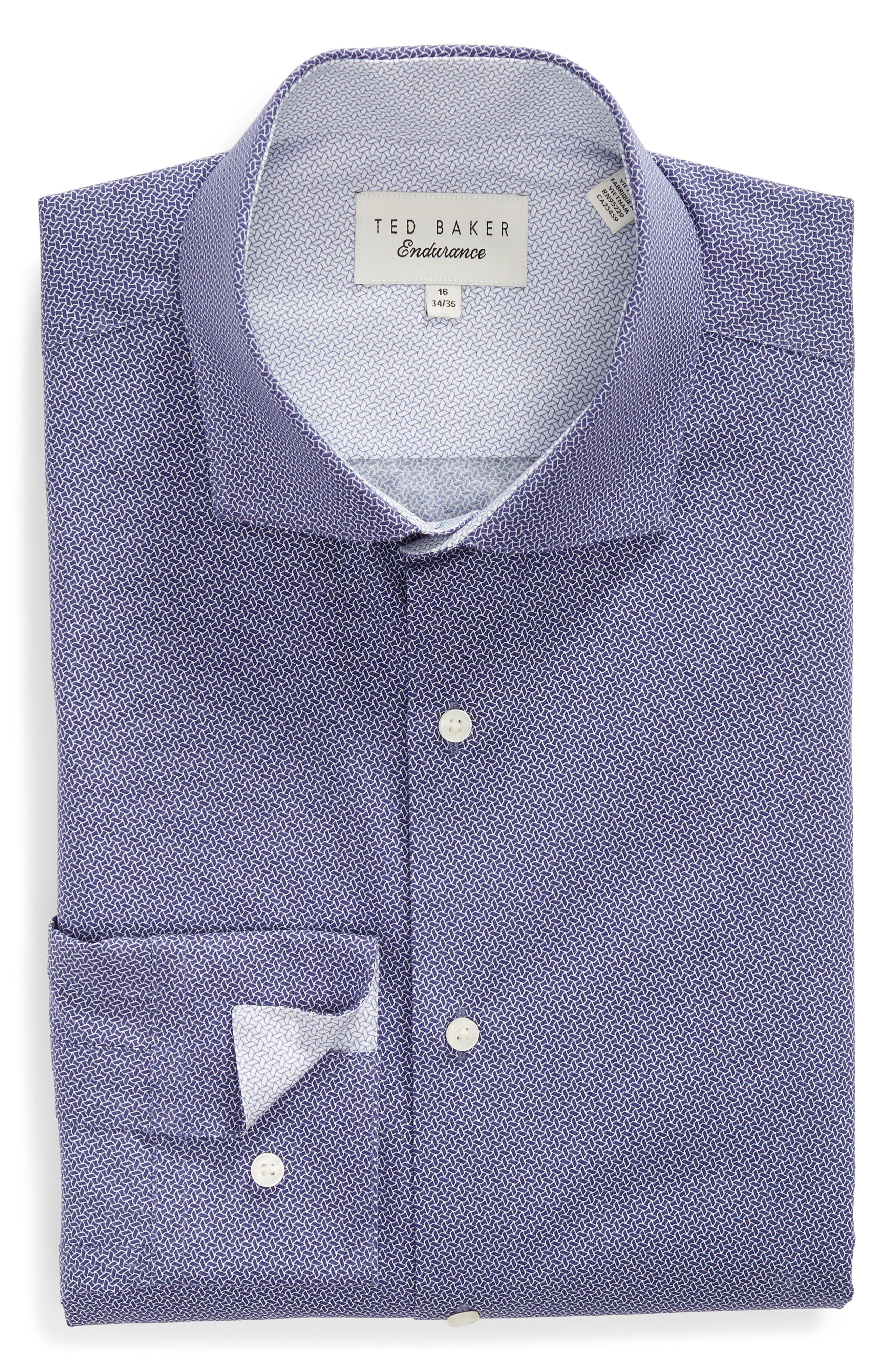 Strame Slim Fit Geometric Dress Shirt,                             Alternate thumbnail 5, color,                             510
