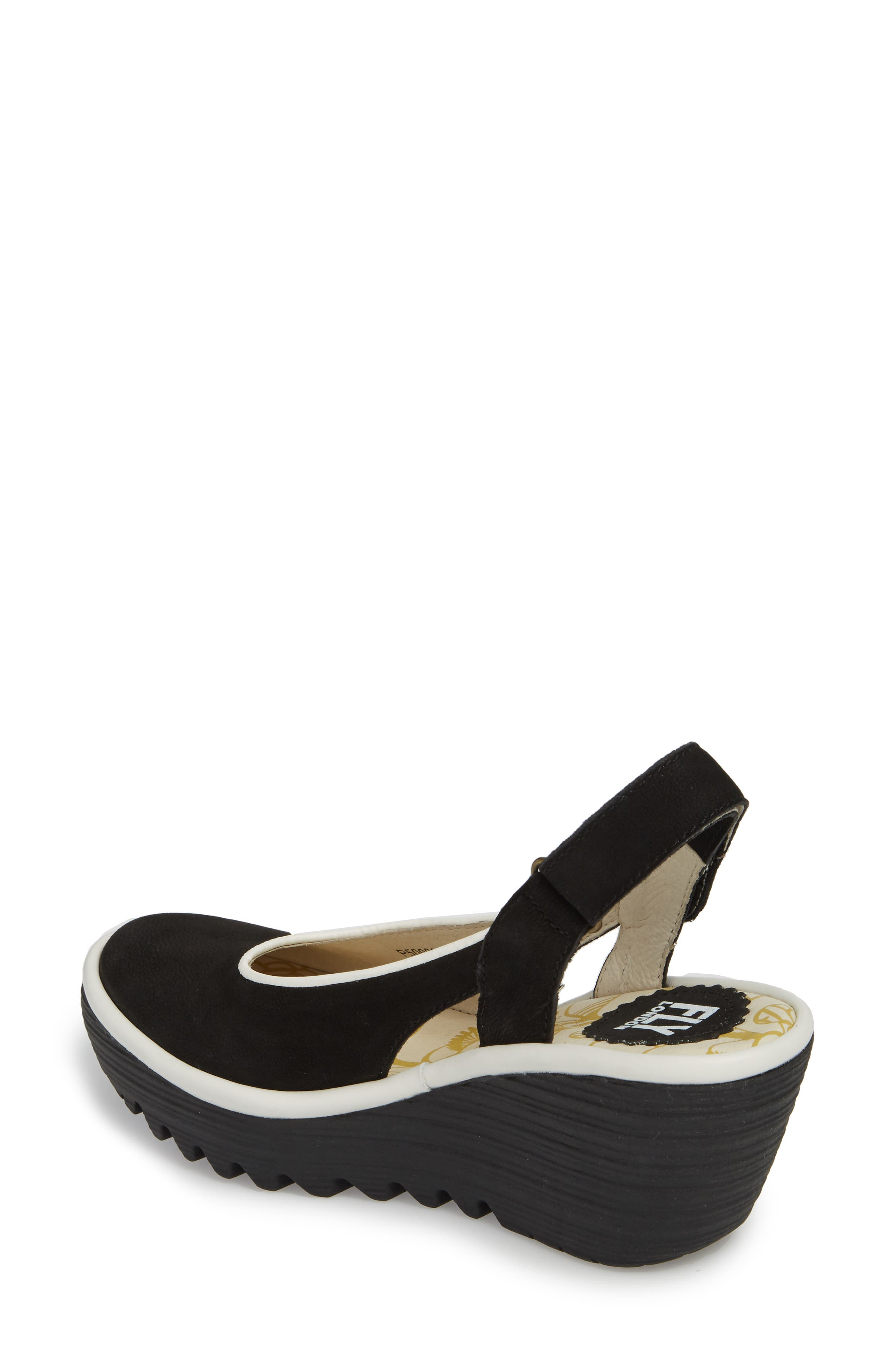 Yipi Wedge Sandal,                             Alternate thumbnail 2, color,                             BLACK/ OFF WHITE MIX LEATHER