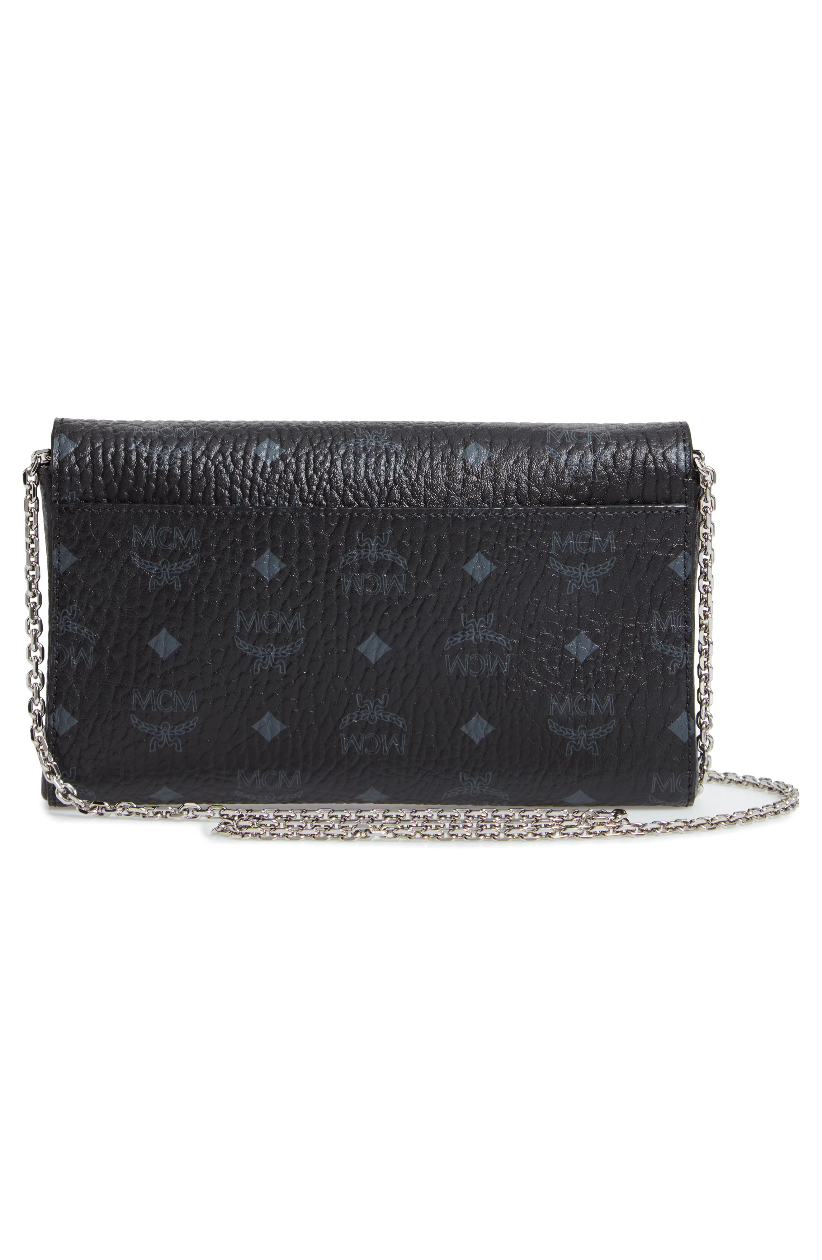 Millie Visetos Canvas Wallet on a Chain,                             Alternate thumbnail 3, color,                             BLACK
