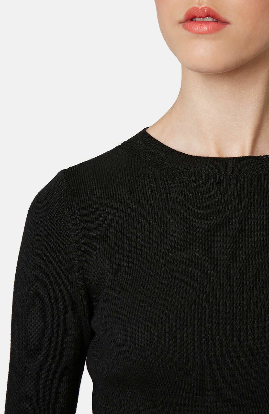 Ribbed Crop Sweater,                             Alternate thumbnail 5, color,                             001