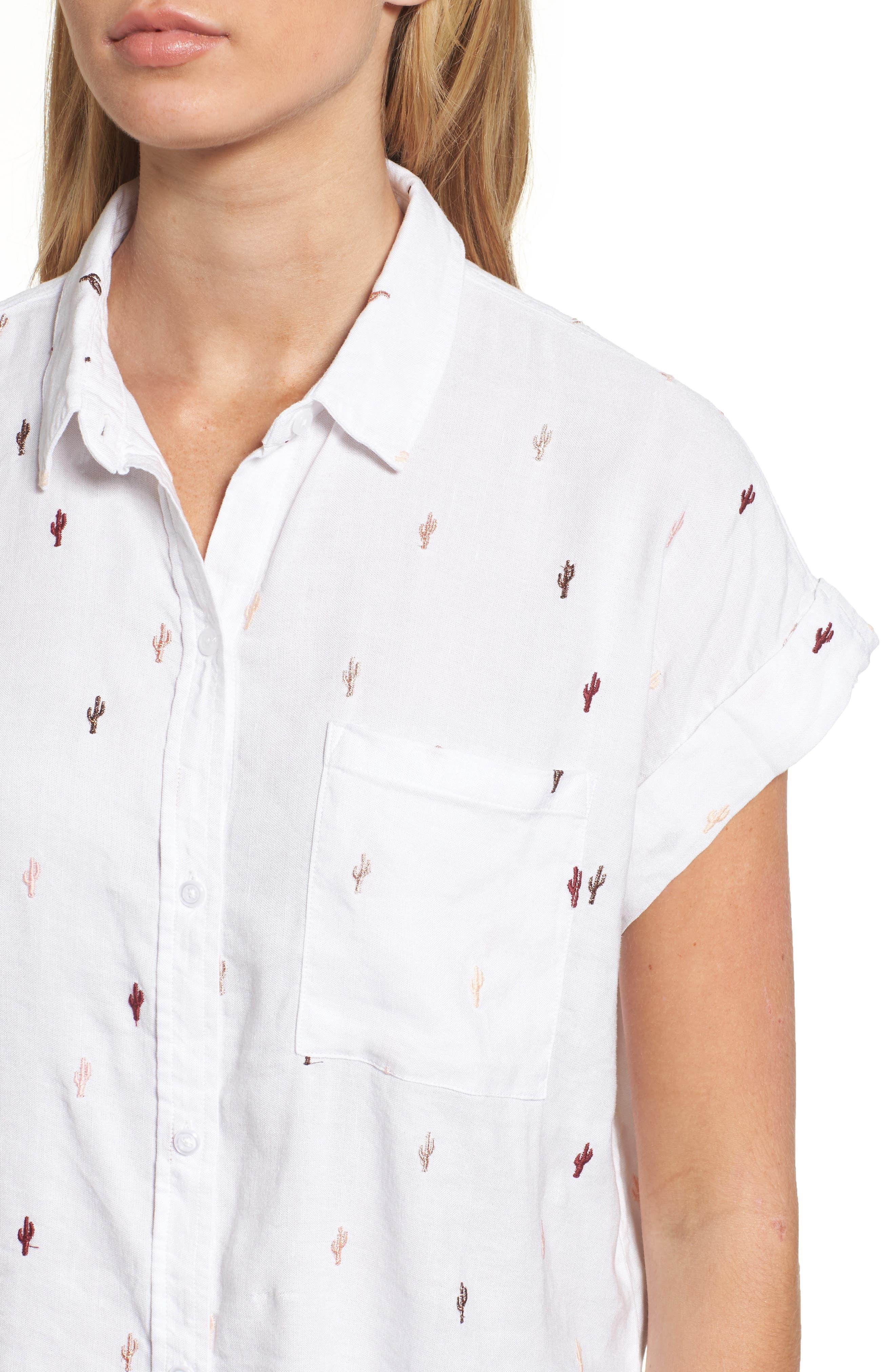 Whitney Cactus Print Shirt,                             Alternate thumbnail 4, color,                             METALLIC CACTUS