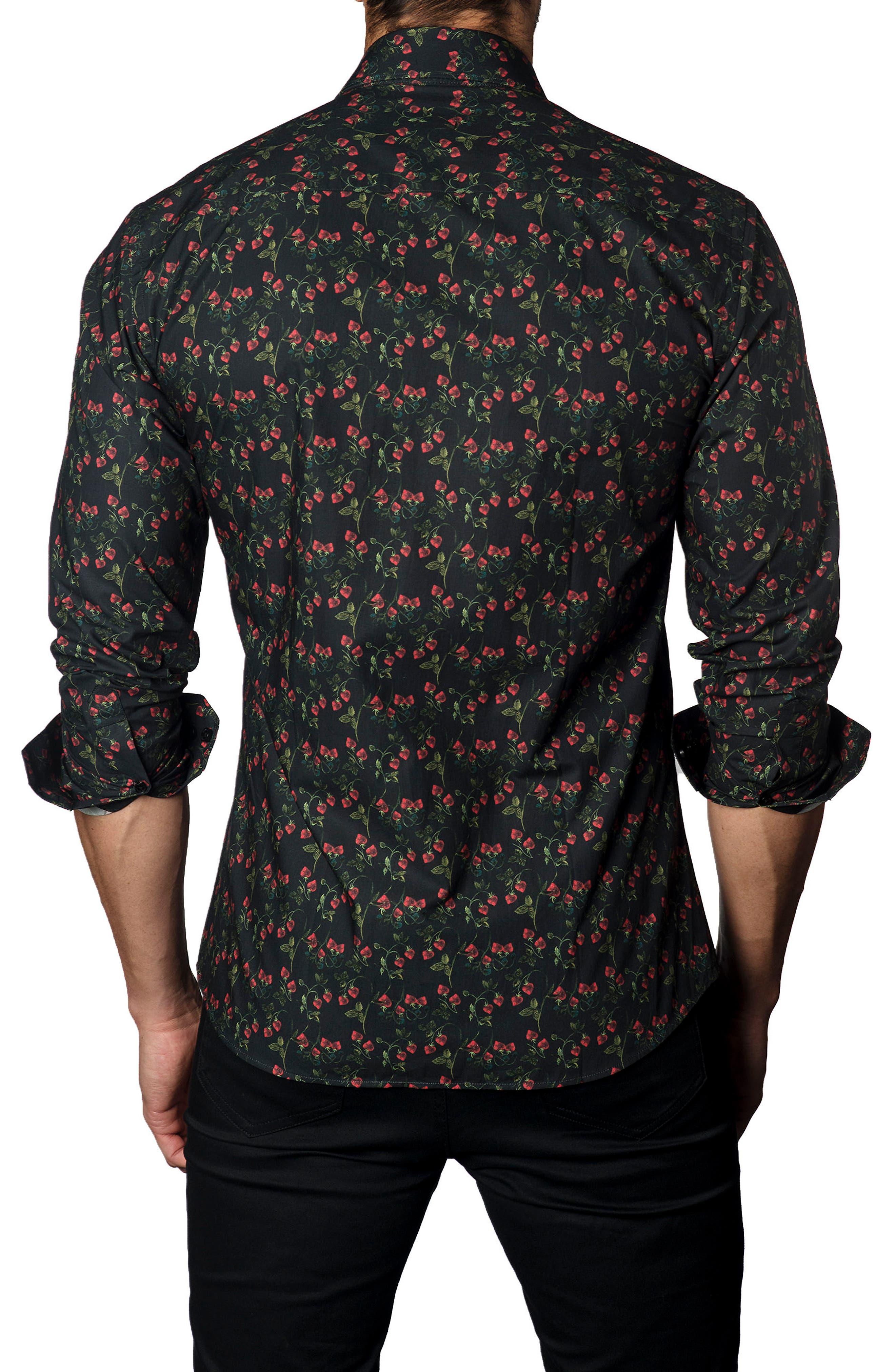 Strawberry Print Sport Shirt,                             Alternate thumbnail 2, color,                             001