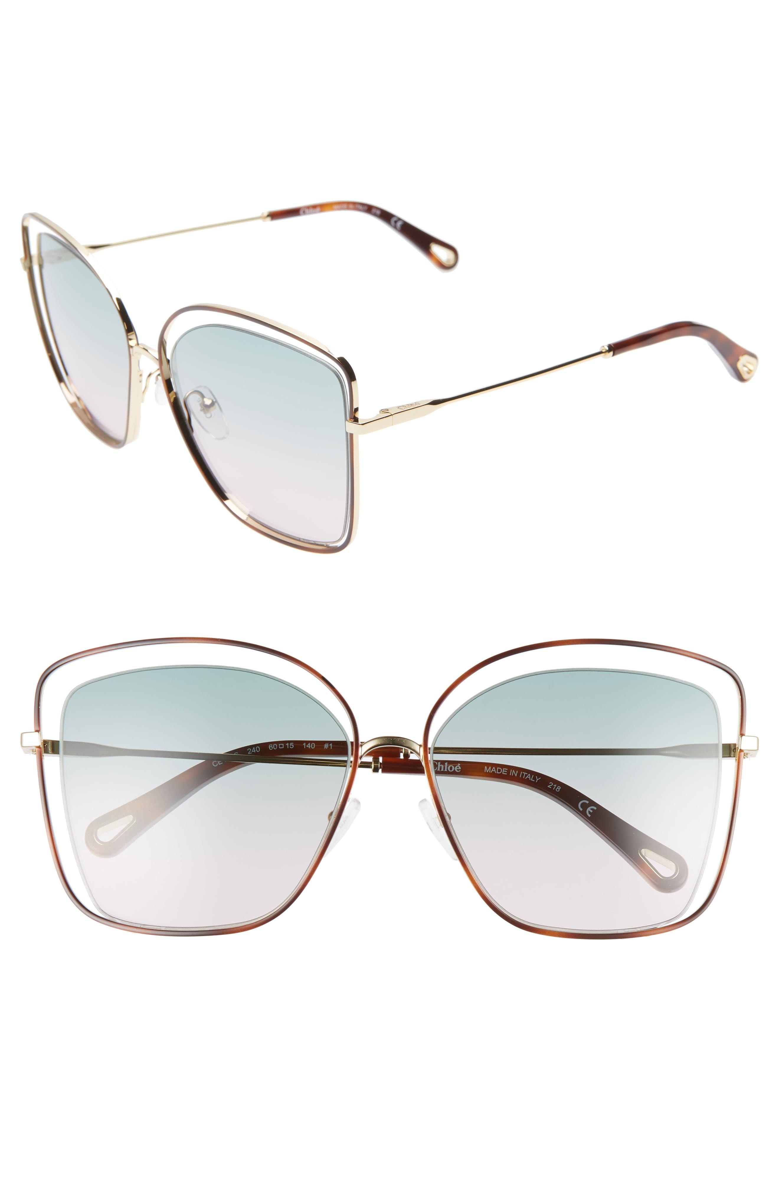 60mm Halo Frame Sunglasses,                         Main,                         color, HAVANA/ GREEN ROSE
