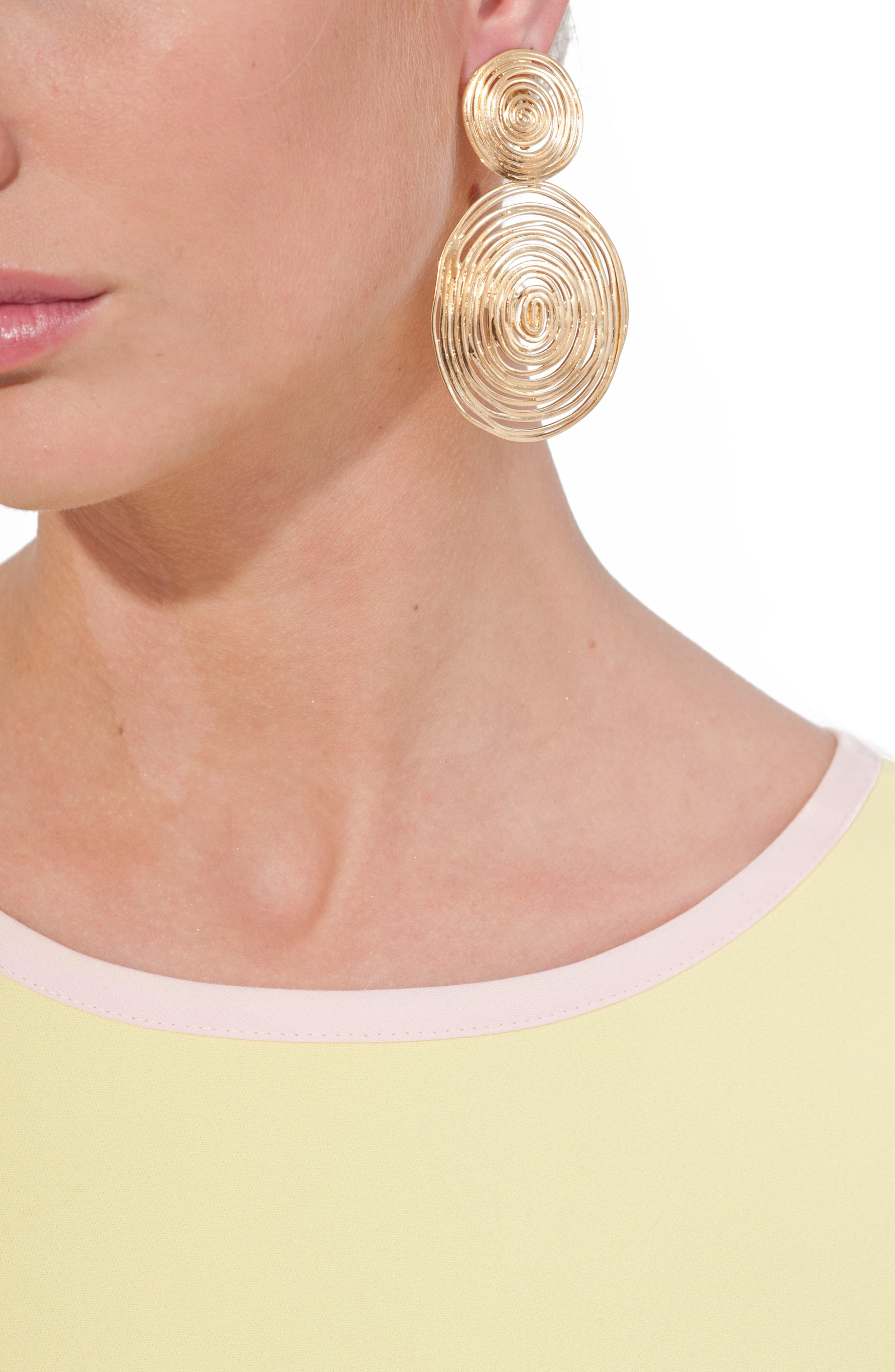 Wave Double Drop Earrings,                             Alternate thumbnail 4, color,                             GOLD