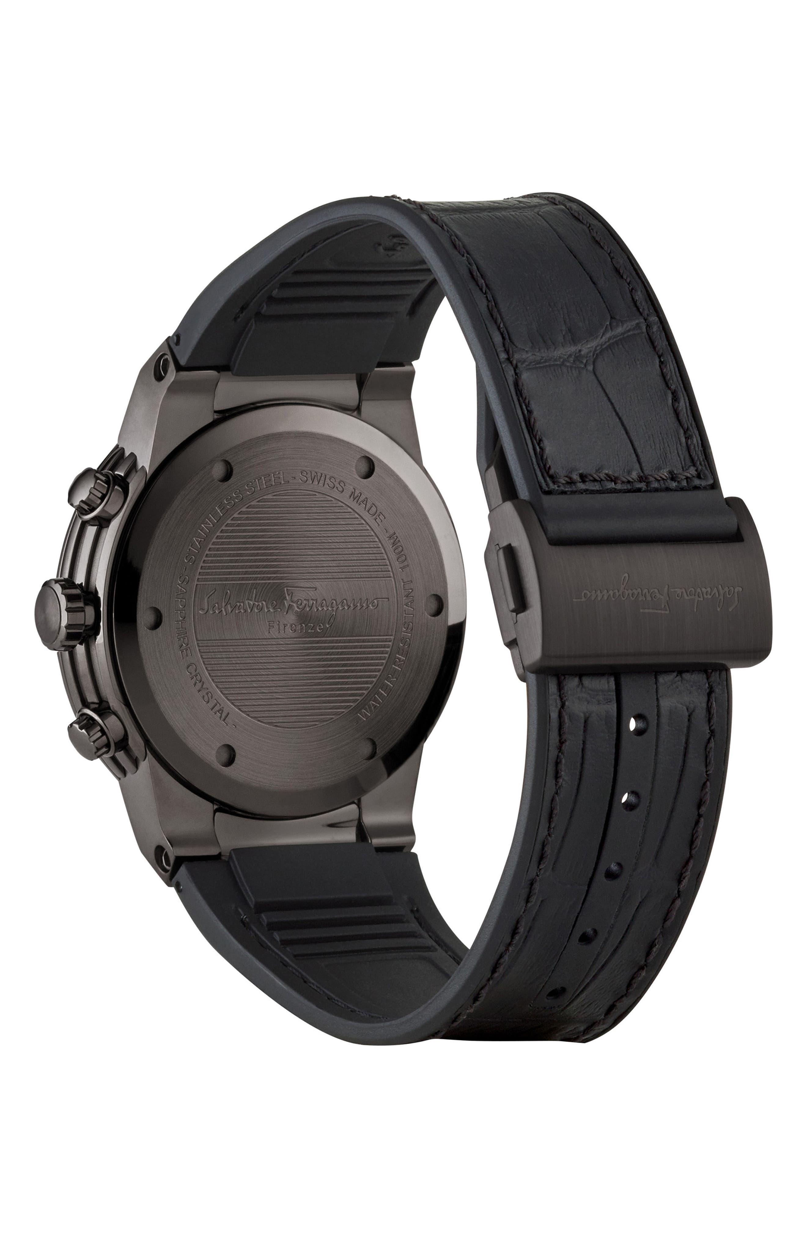 SALVATORE FERRAGAMO,                             F80 Chronograph Leather Strap Watch, 44mm,                             Alternate thumbnail 2, color,                             GUNMETAL/ BLACK/ GUNMETAL