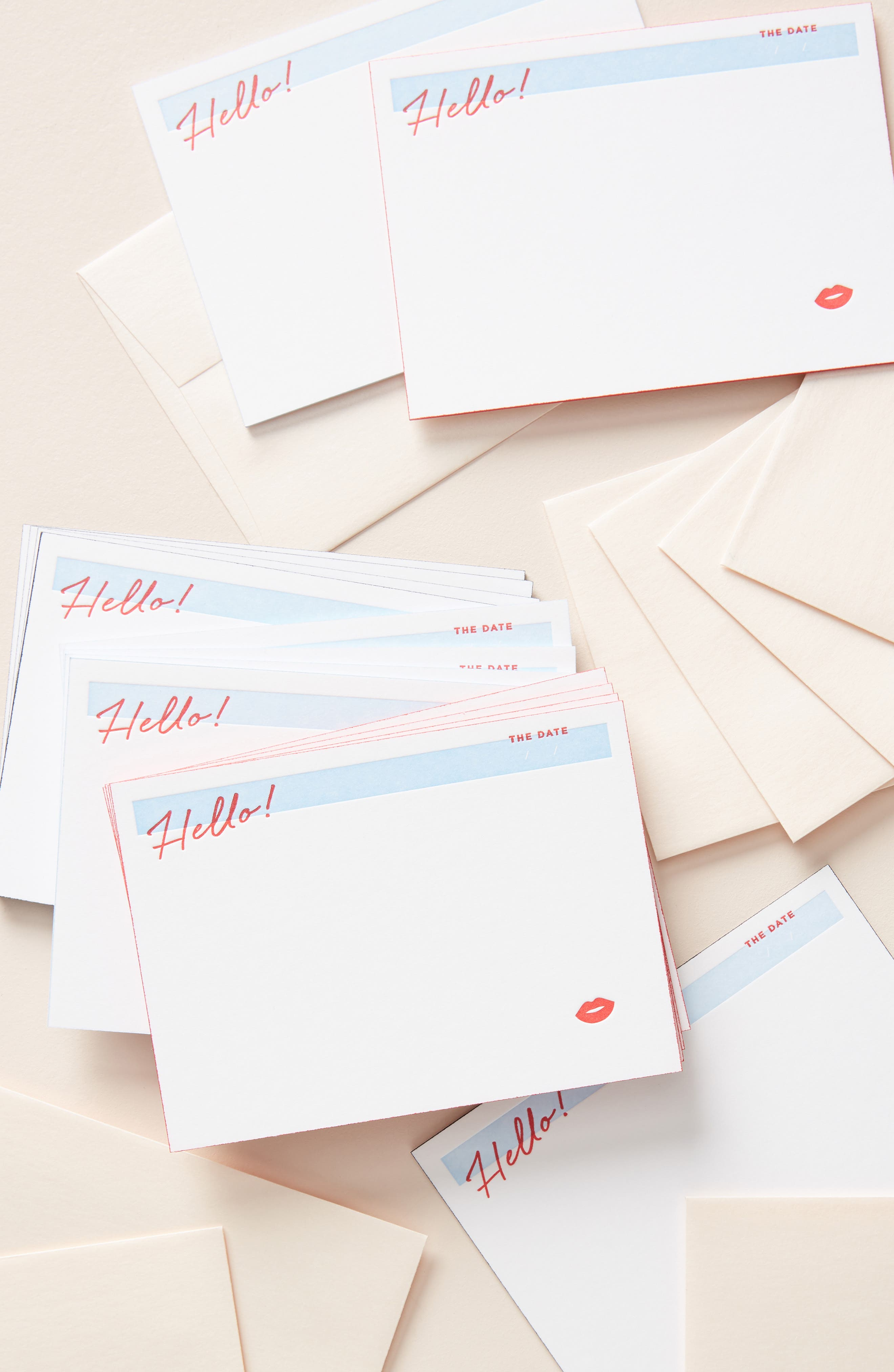 ANTHROPOLOGIE Bisou Set of 15 Greeting Cards, Main, color, RED
