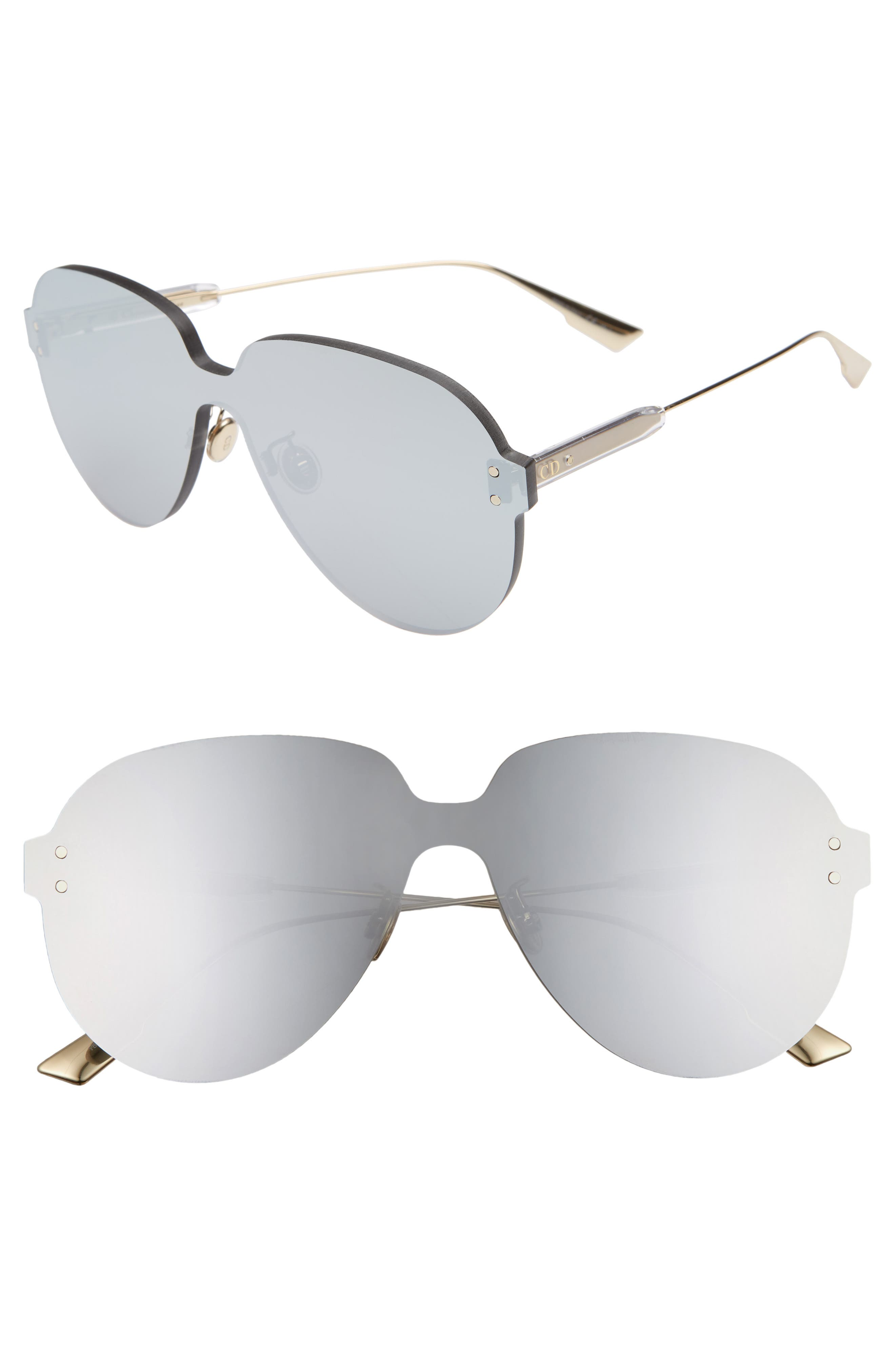 Christian Dior Quake3 14m Rimless Pilot Shield Sunglasses - Silver