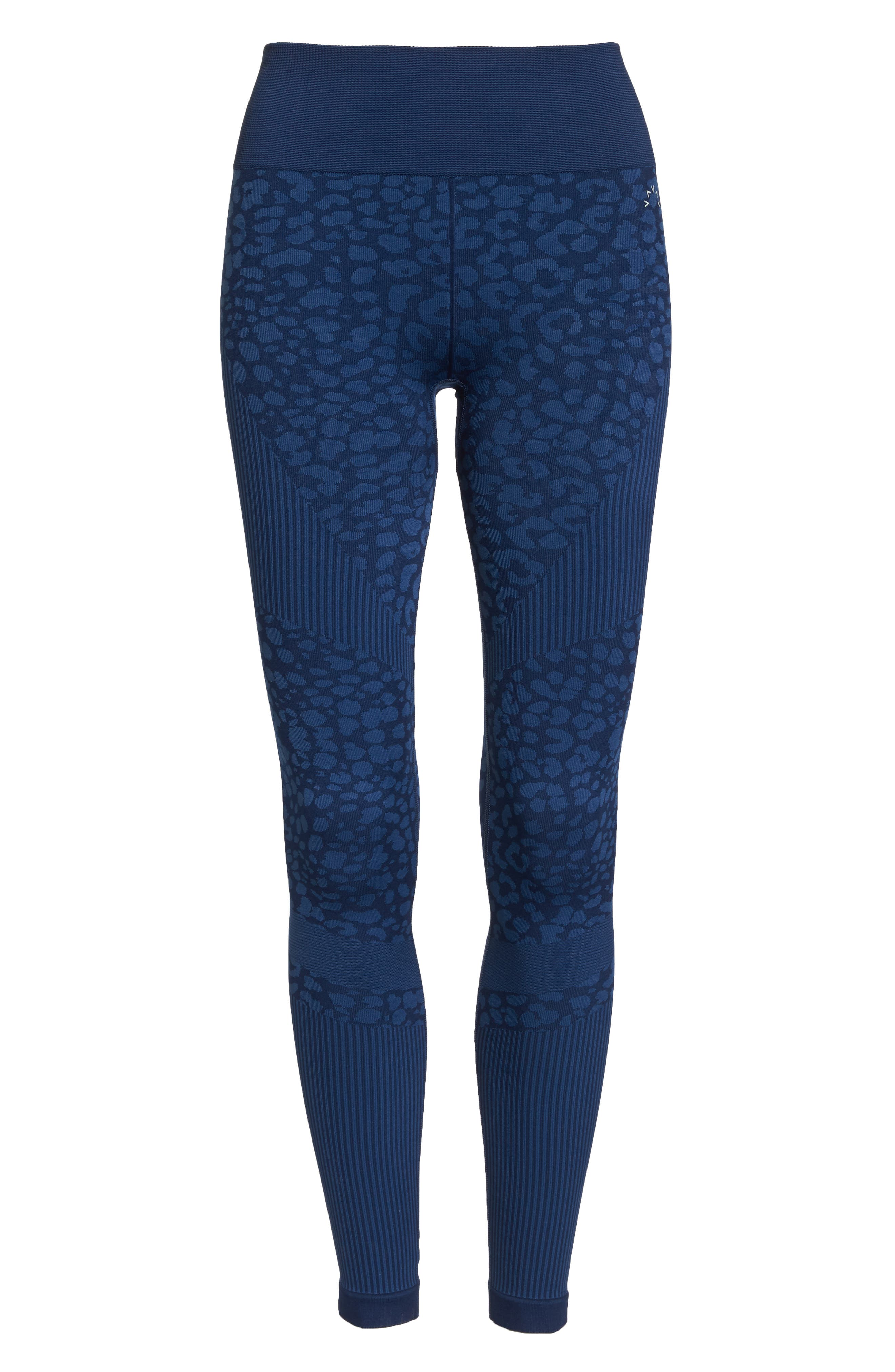 Quincy Seamless Leggings,                             Alternate thumbnail 7, color,                             NAVY LEOPARD