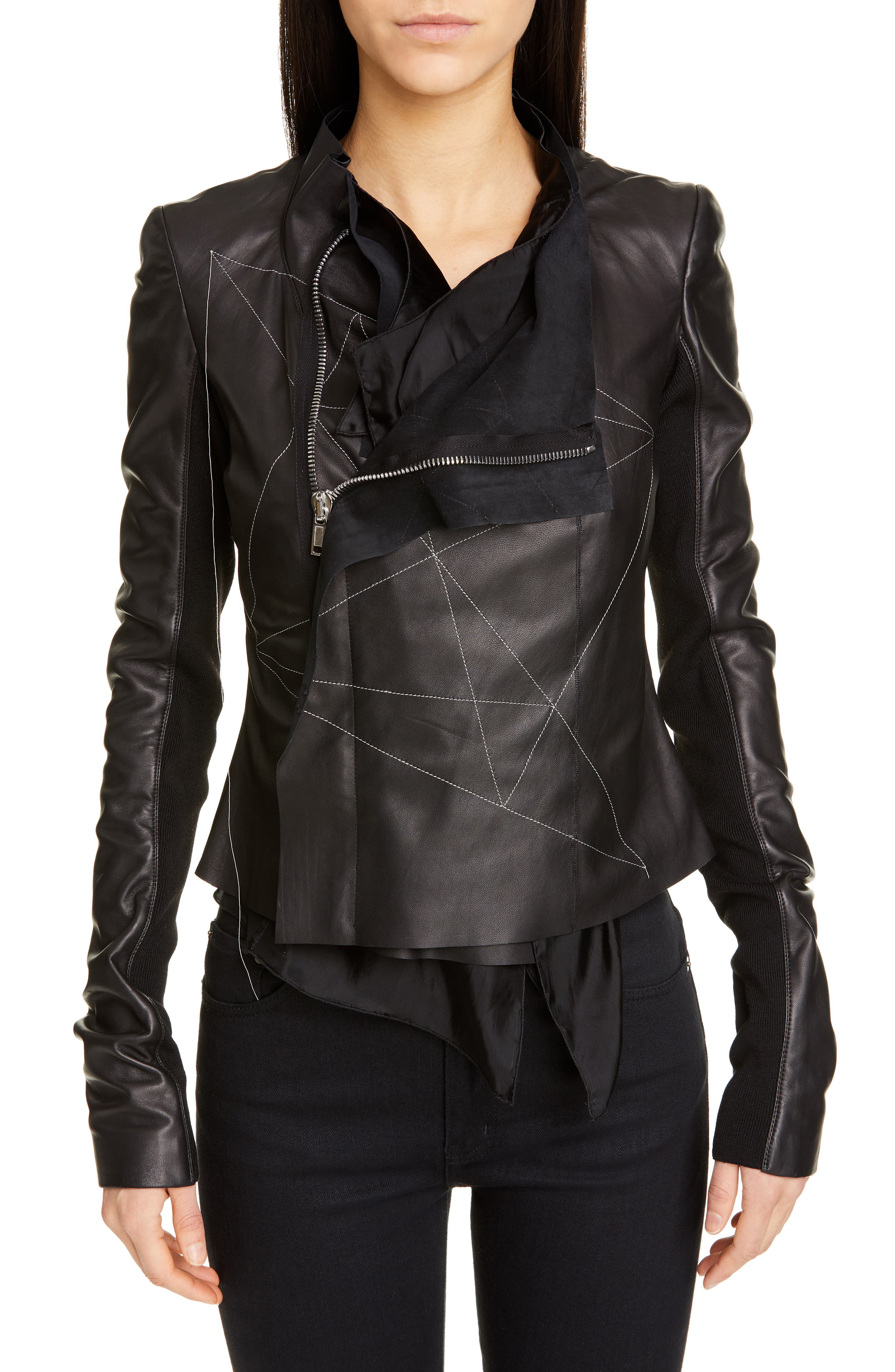 RICK OWENS,                             Embroidered Leather Biker Jacket,                             Main thumbnail 1, color,                             BLACK PEARL