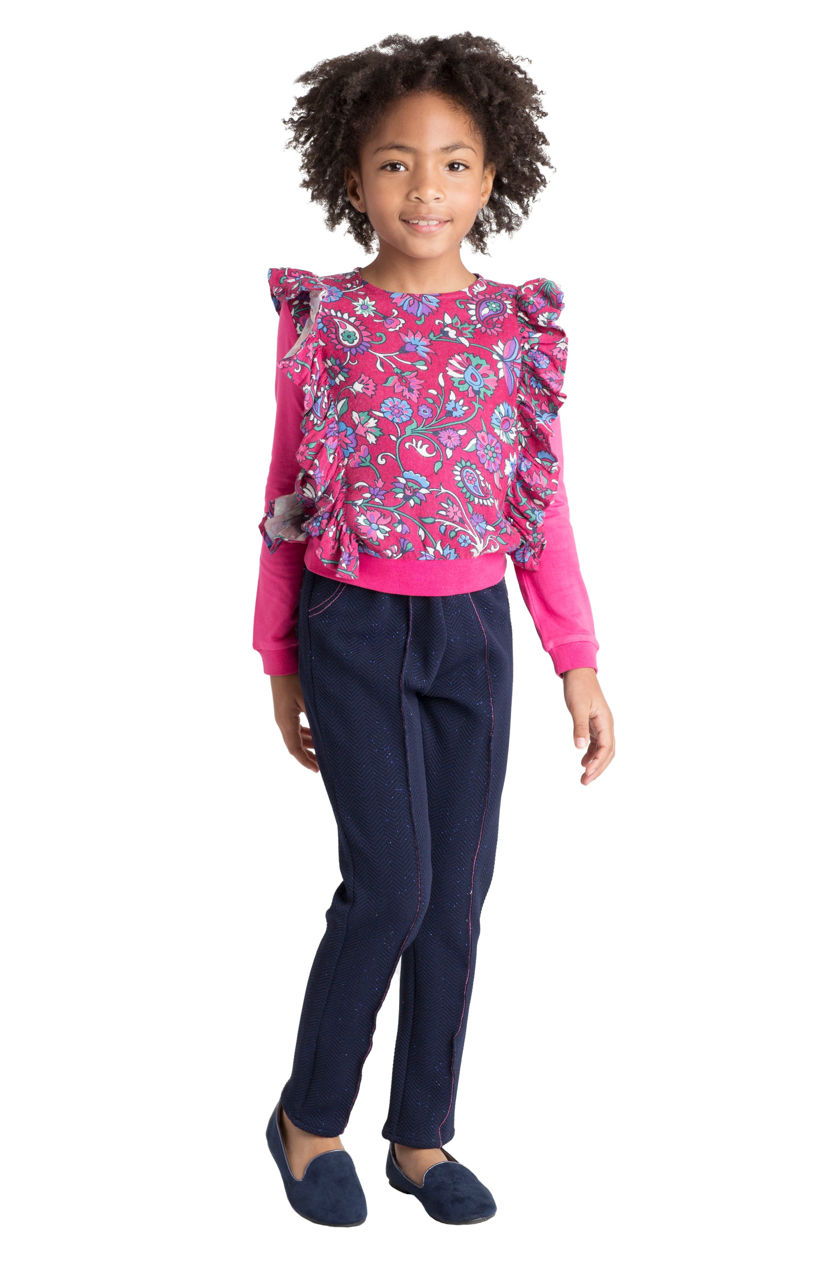Floral Ruffle Top,                         Main,                         color, 500