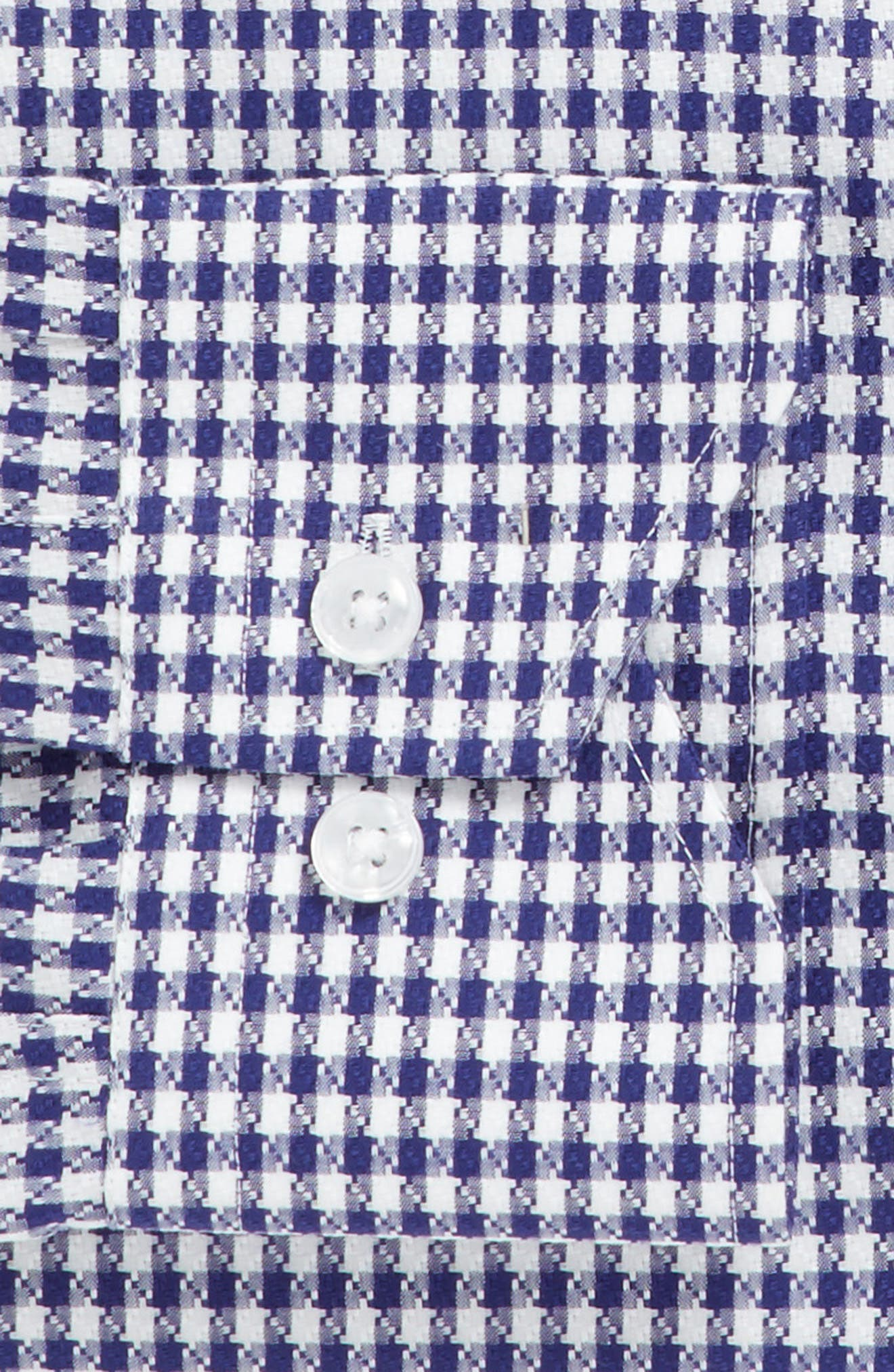 Trim Fit Check Dress Shirt,                             Alternate thumbnail 3, color,                             NAVY
