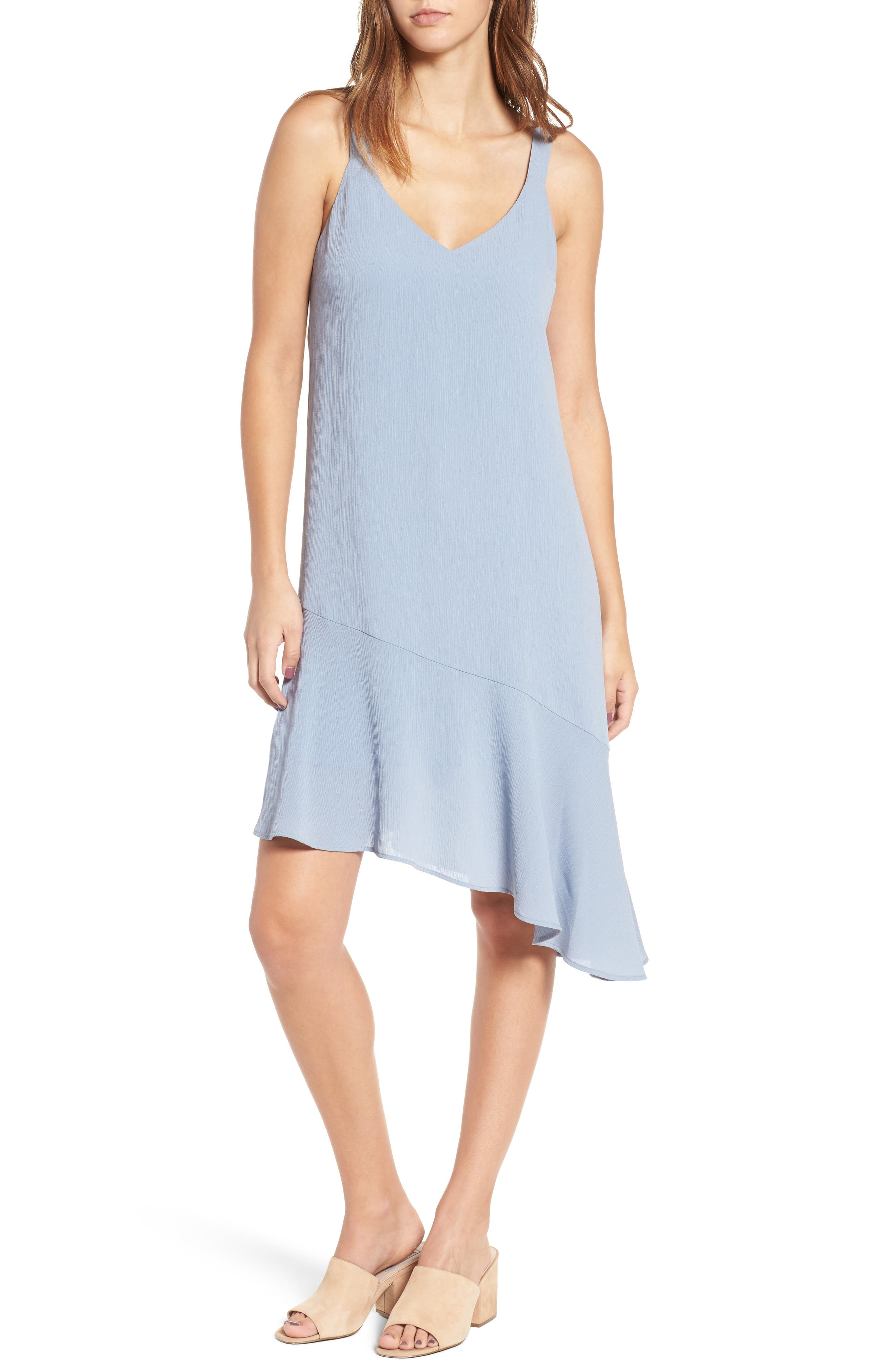 Asymmetrical Ruffle Hem Dress,                             Main thumbnail 1, color,                             400