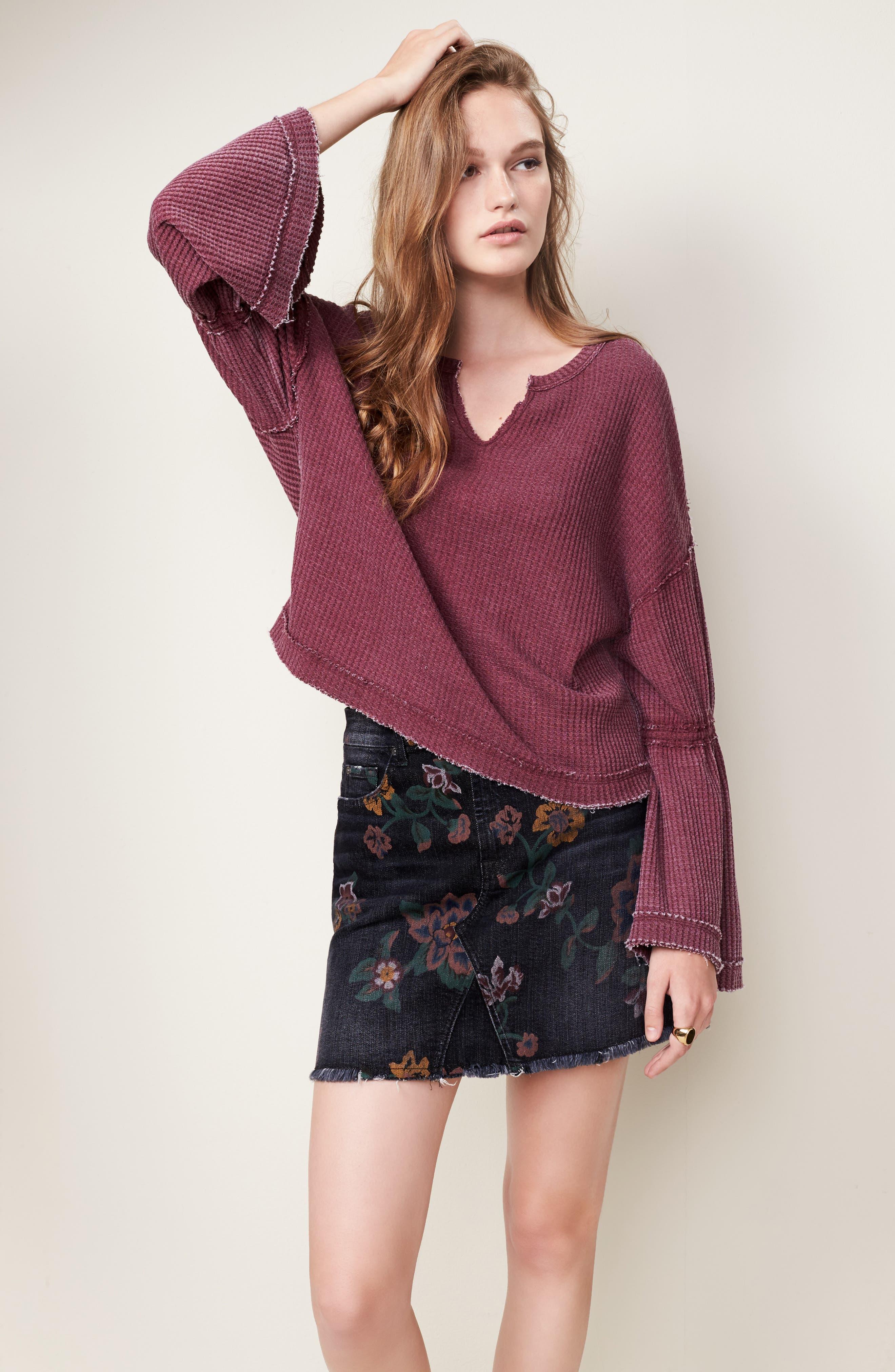 Print Denim Miniskirt,                             Alternate thumbnail 7, color,                             004