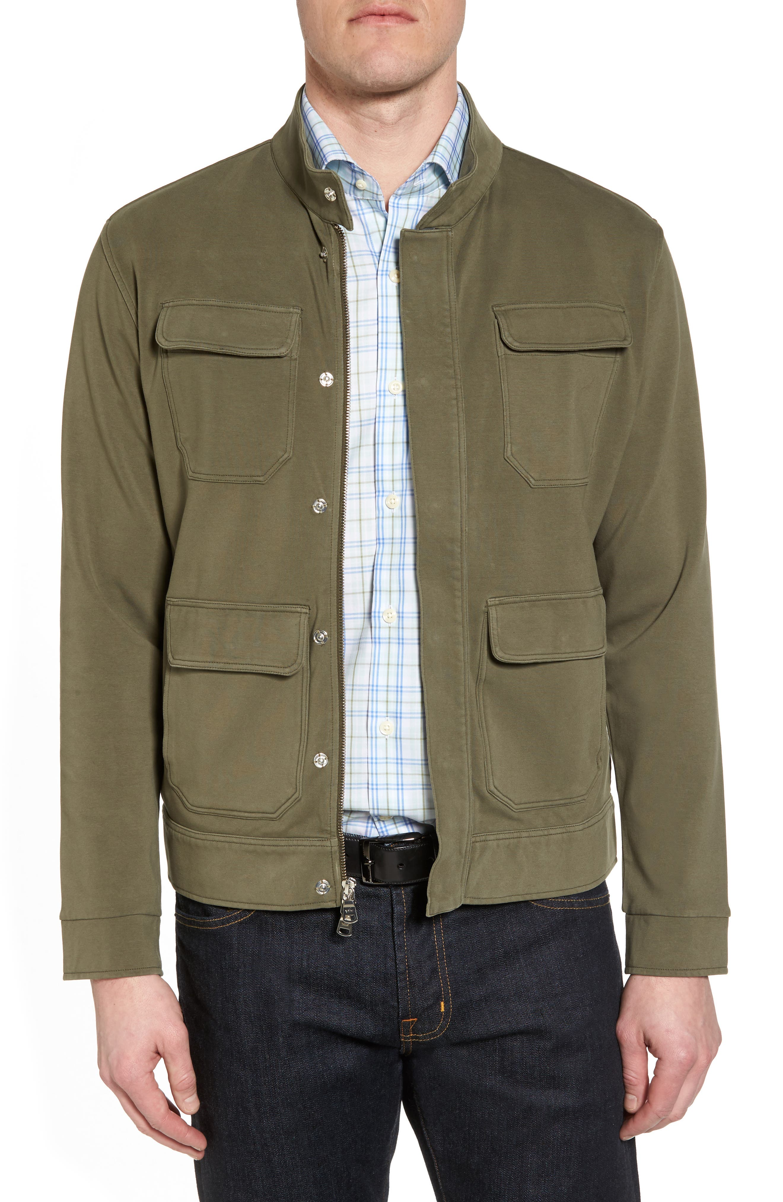 Regular Fit Safari Jersey Jacket,                             Main thumbnail 1, color,