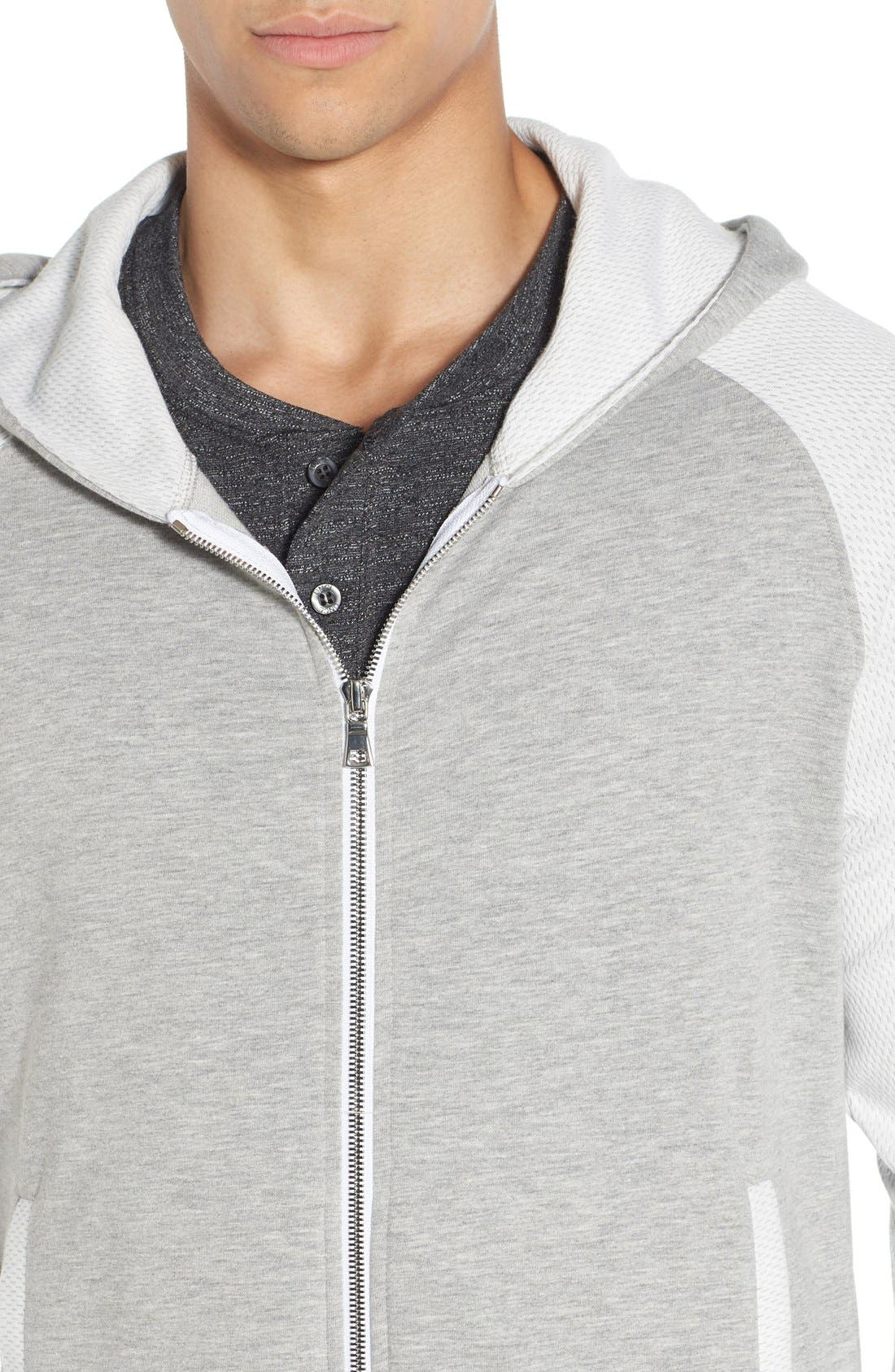 'Baseline' Zip Hoodie,                             Alternate thumbnail 4, color,                             GREY