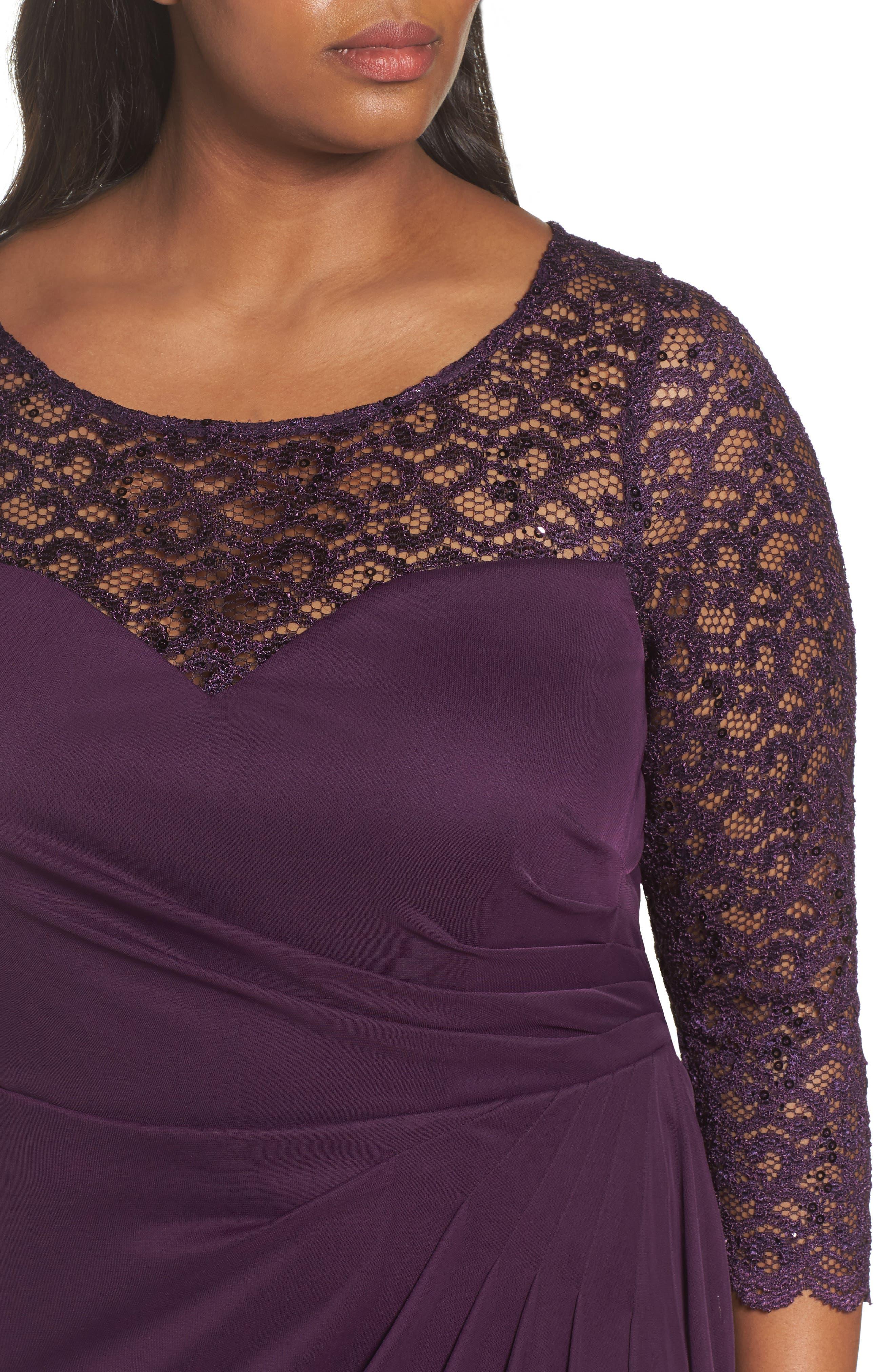 Lace & Matte Jersey Gown,                             Alternate thumbnail 4, color,                             501