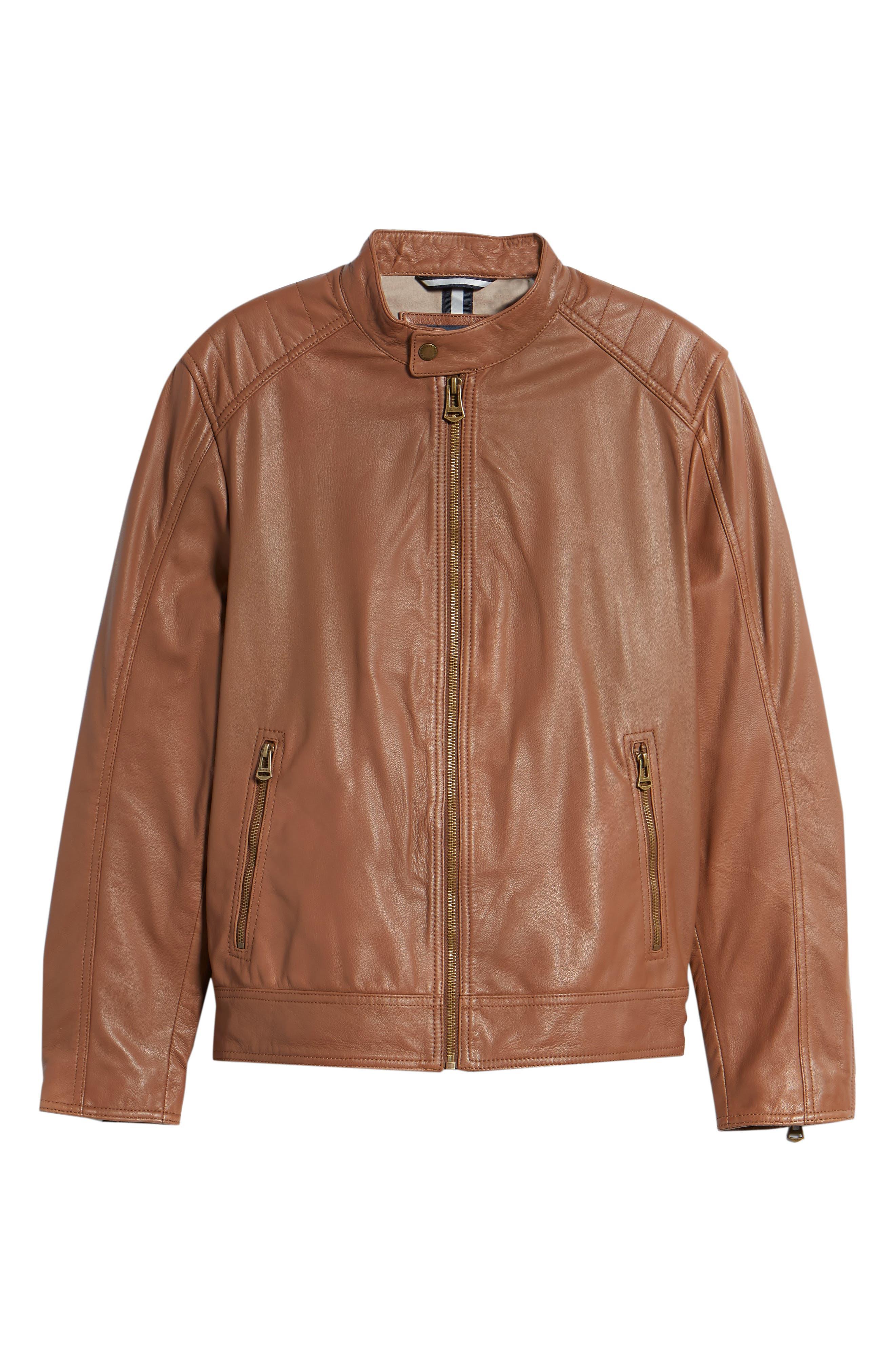 Washed Leather Moto Jacket,                             Alternate thumbnail 5, color,                             COGNAC