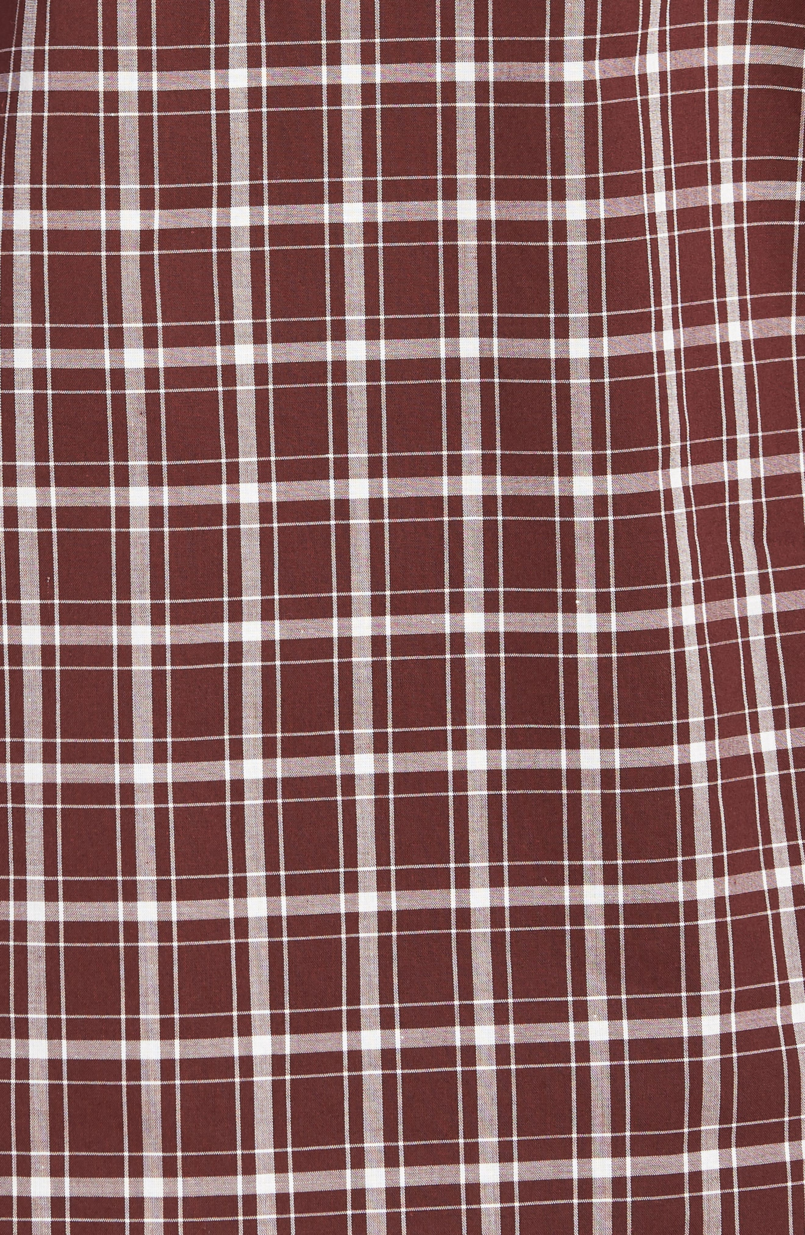 Classic Fit Plaid Sport Shirt,                             Alternate thumbnail 5, color,                             BLACK CHERRY