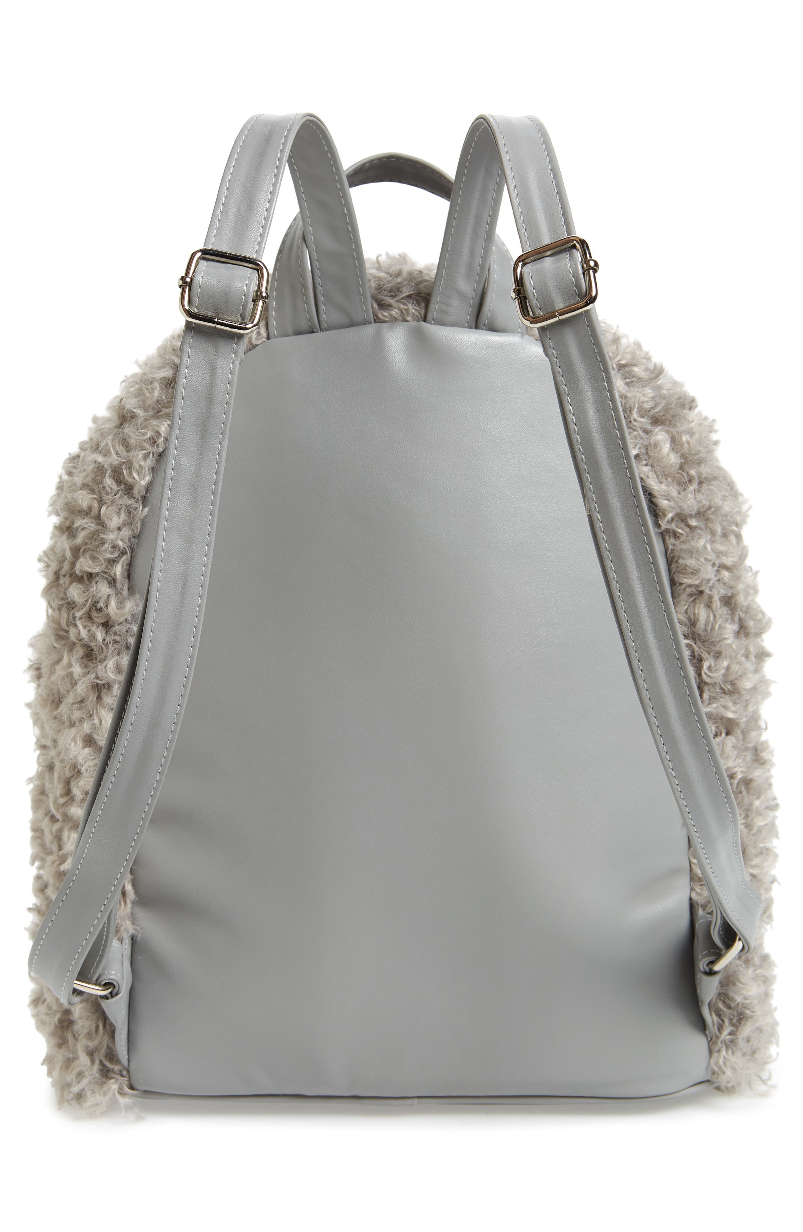 Curly Faux Shearling Backpack,                             Alternate thumbnail 3, color,                             020