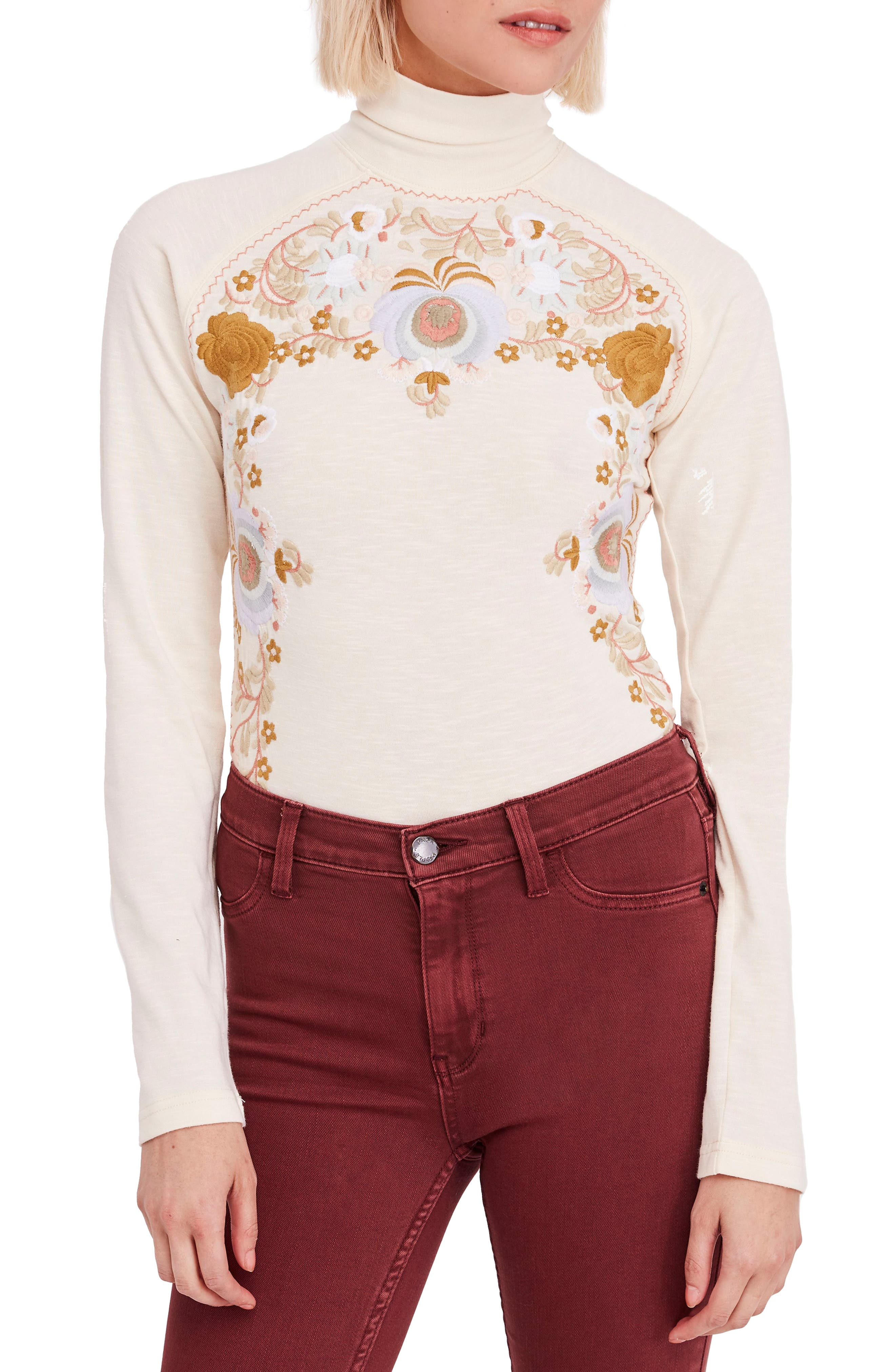 Women's 70s Shirts, Blouses, Hippie Tops Womens Free People Disco Rose Top Size X-Small - Ivory $58.80 AT vintagedancer.com