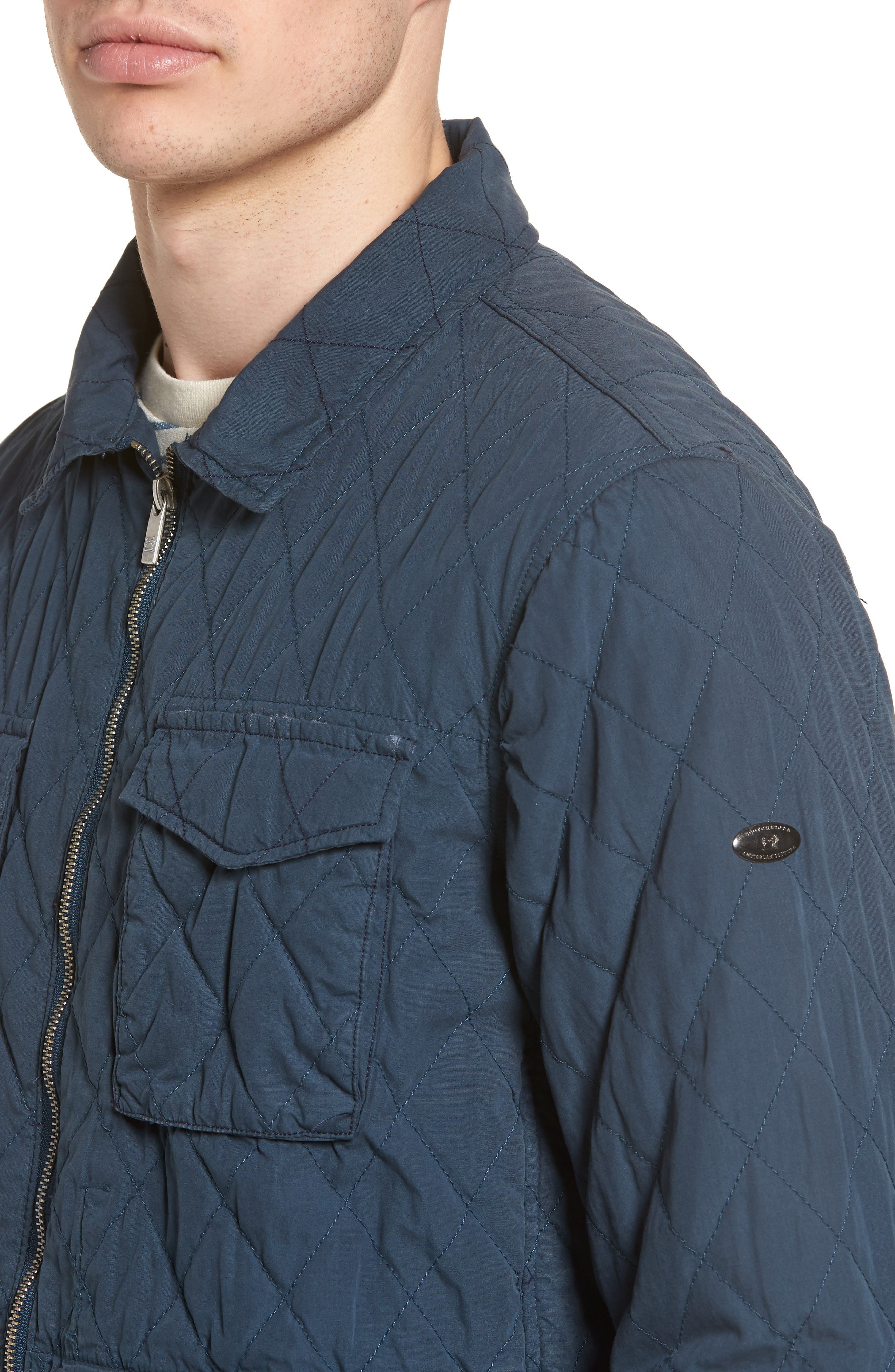 Quilted Shirt Jacket,                             Alternate thumbnail 4, color,                             STEEL
