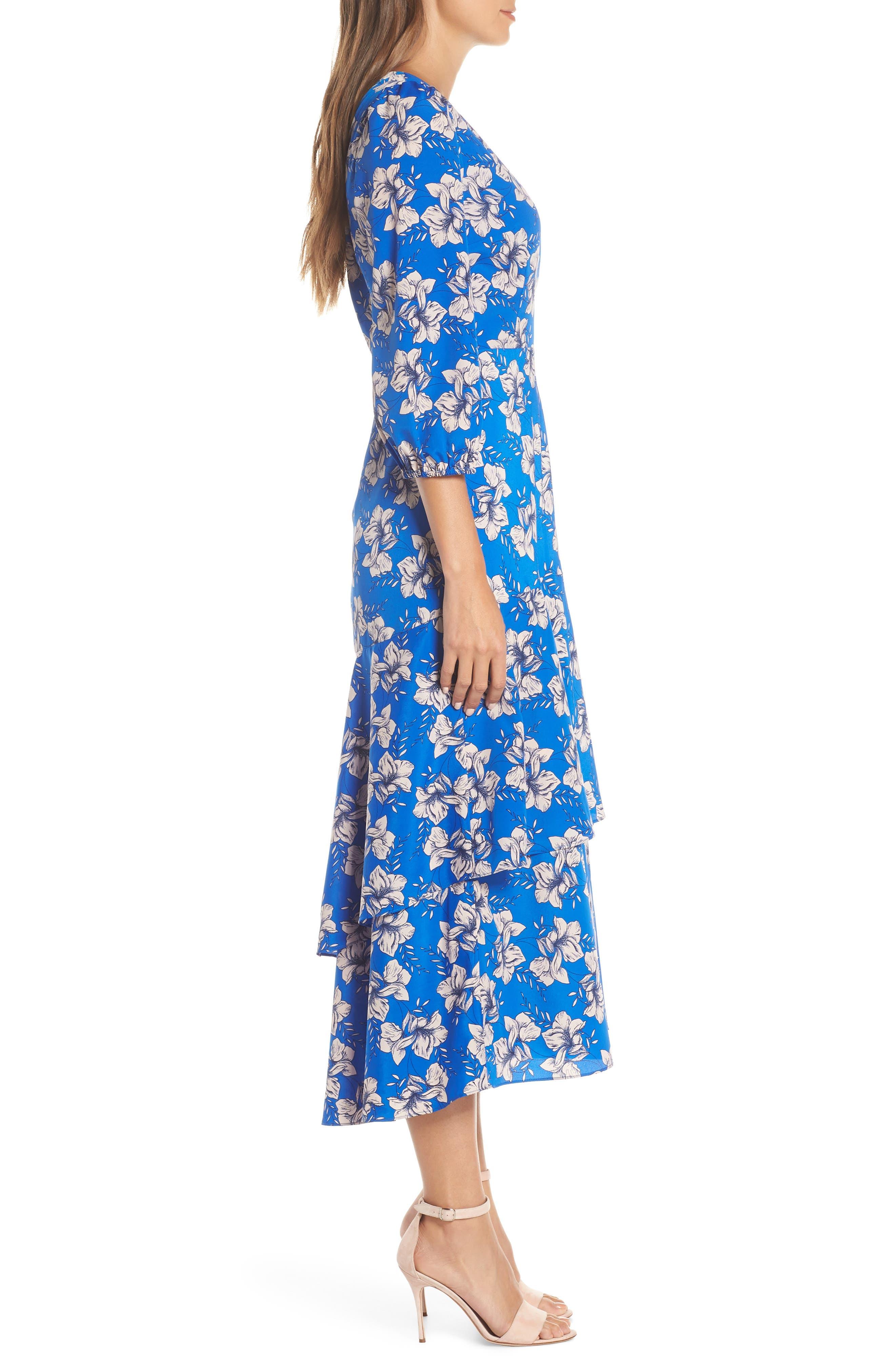 ELIZA J,                             Faux Wrap Maxi Dress,                             Alternate thumbnail 3, color,                             BLUE