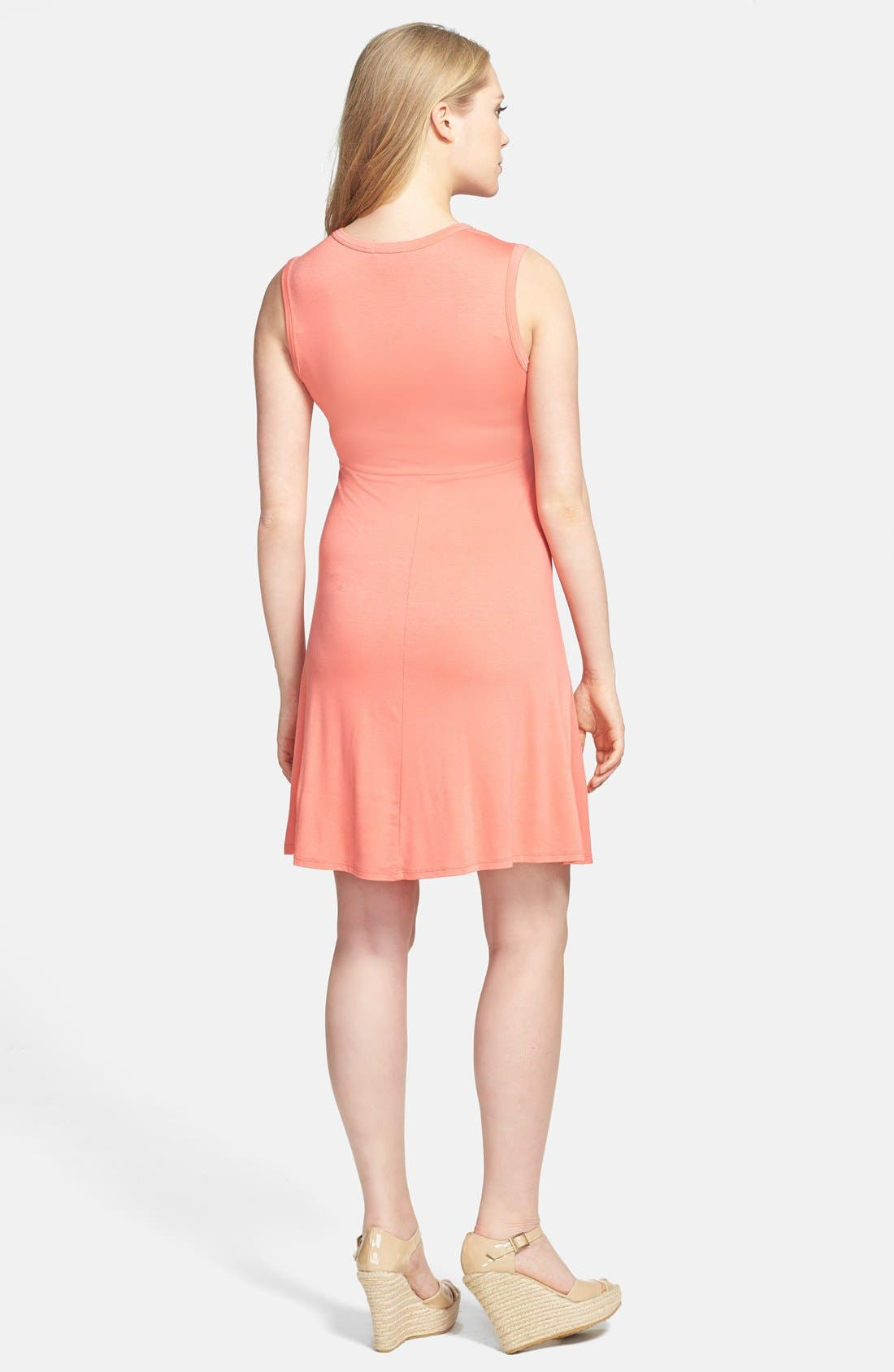 Tie Front Maternity Dress,                             Alternate thumbnail 5, color,                             CORAL
