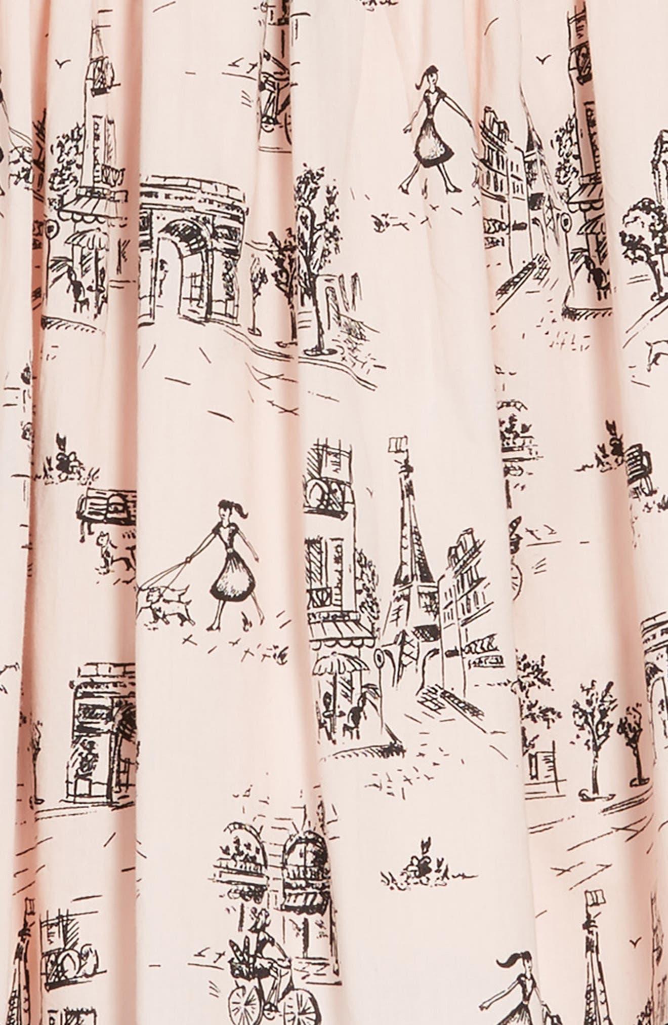 Print Dress,                             Alternate thumbnail 3, color,                             PINK CHINTZ TOILE