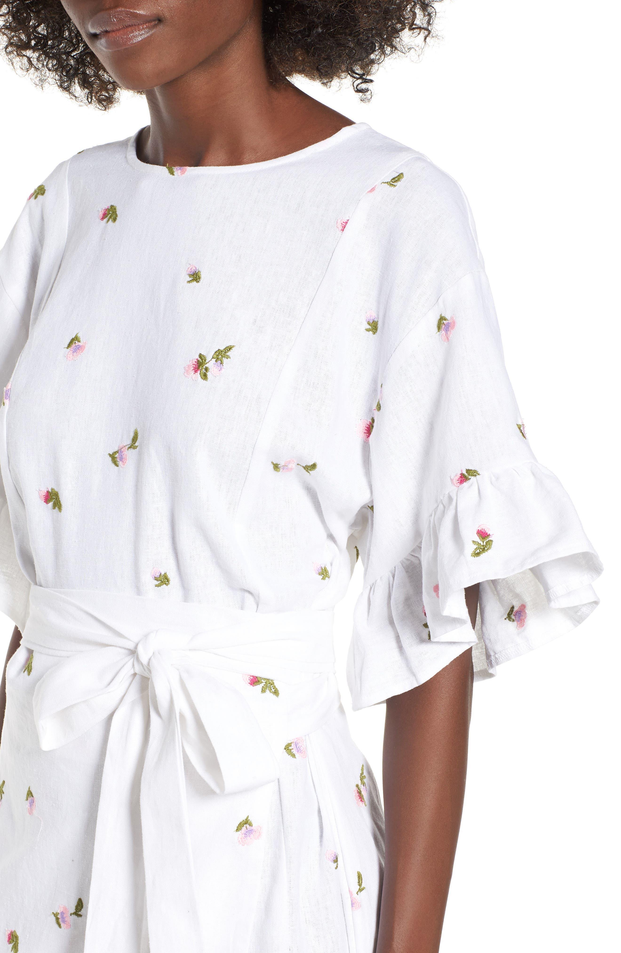Tokyo Ruffle Sleeve Wrap Dress,                             Alternate thumbnail 4, color,                             DITSY EMBROIDERY