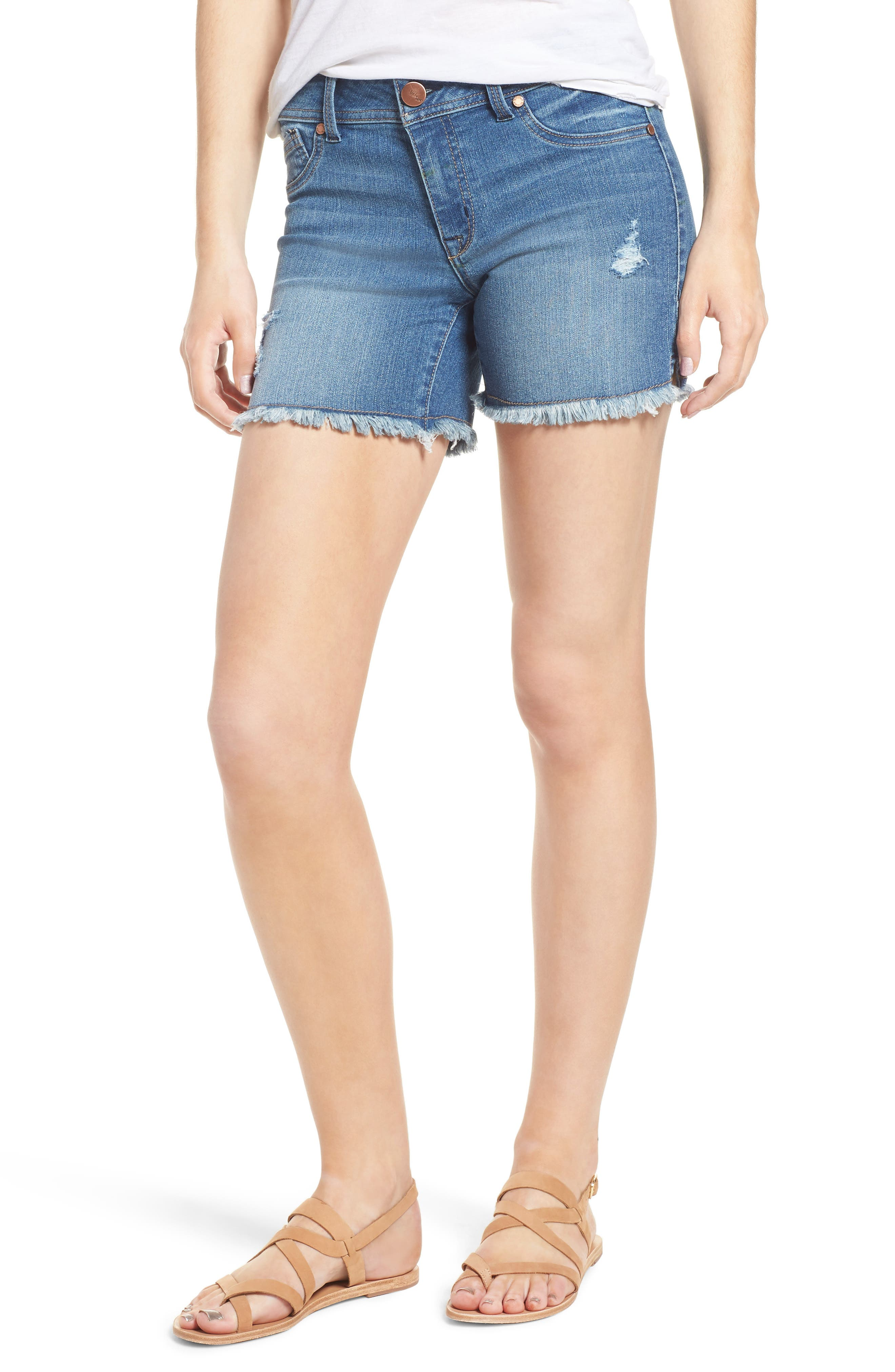 Raw Hem Denim Shorts,                             Main thumbnail 1, color,                             400