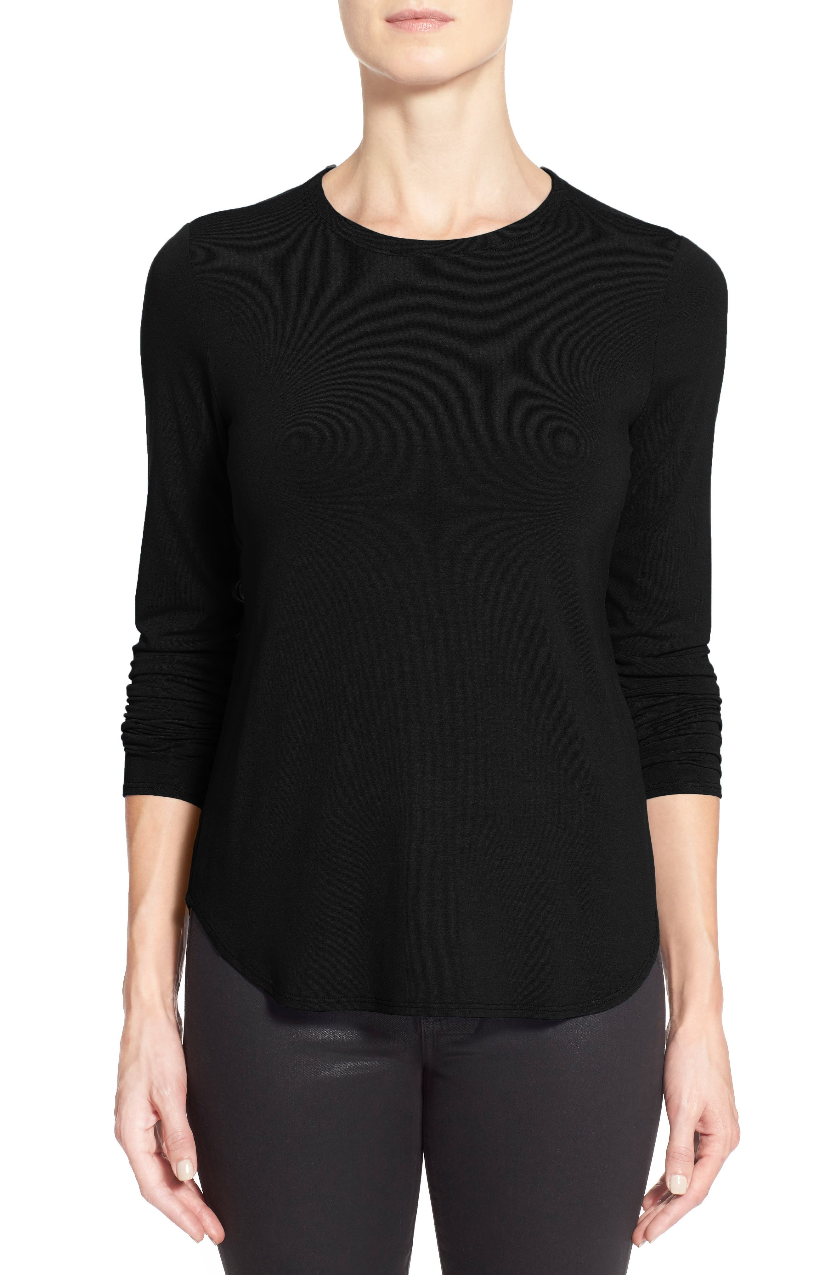 Crewneck Top,                             Alternate thumbnail 8, color,                             BLACK