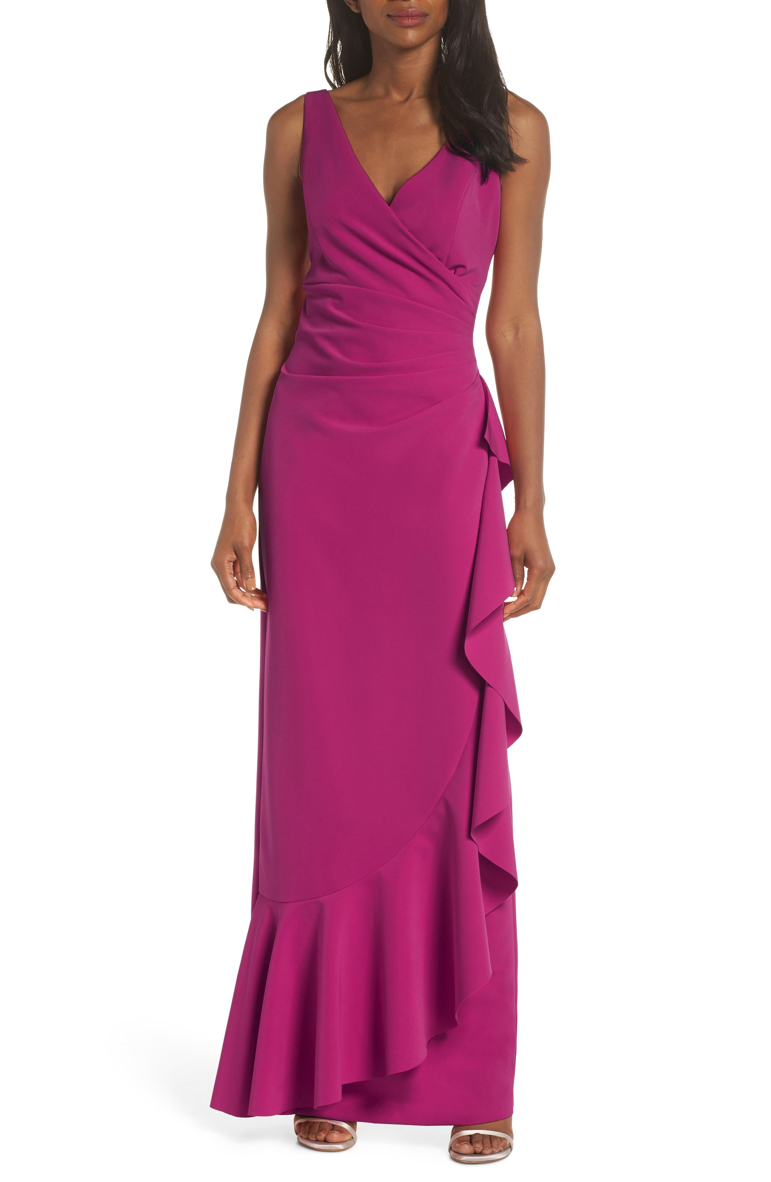 Vince Camuto Laguna Faux Wrap Gown, Red