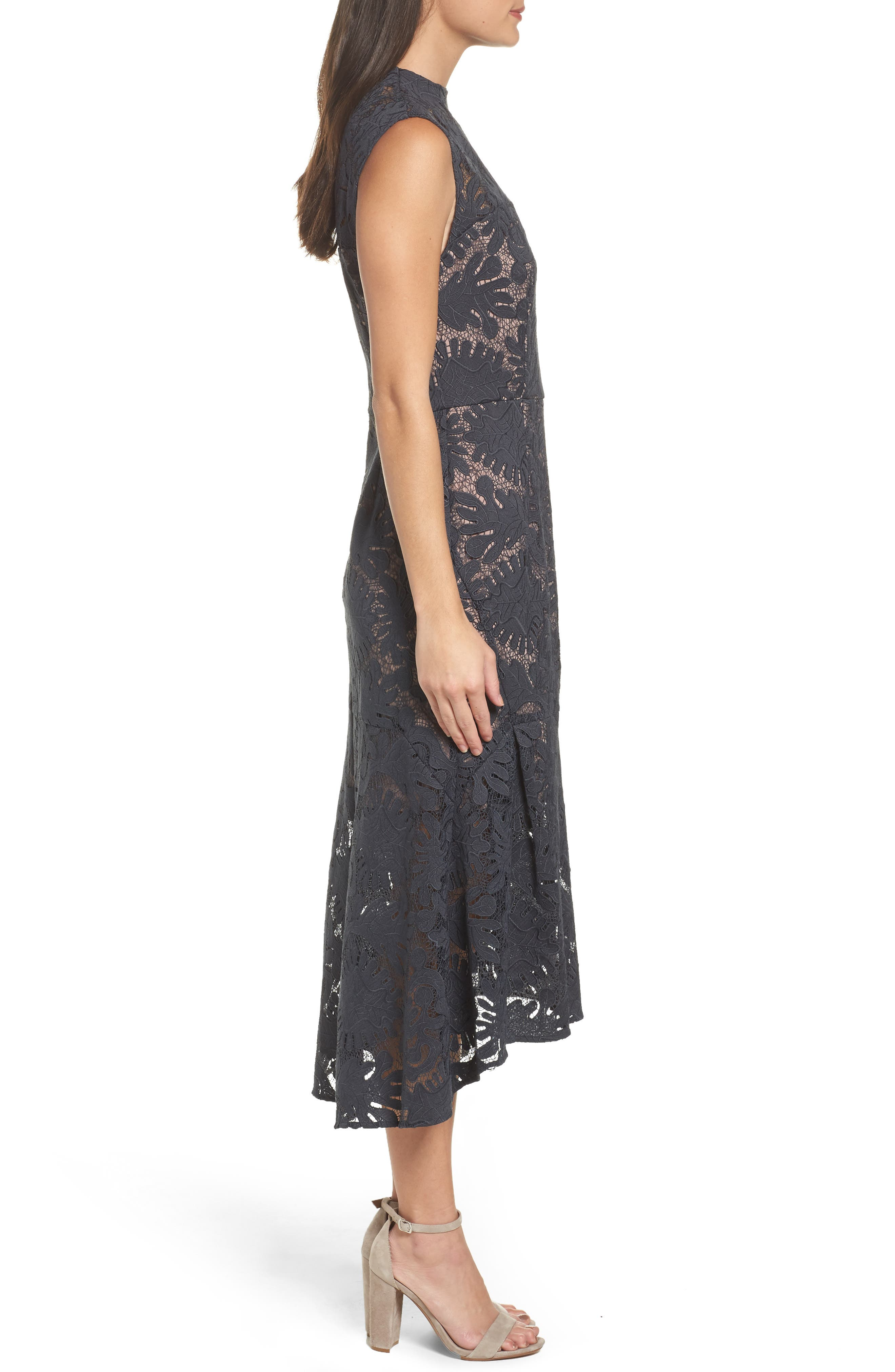 Lace Midi Dress,                             Alternate thumbnail 3, color,                             410