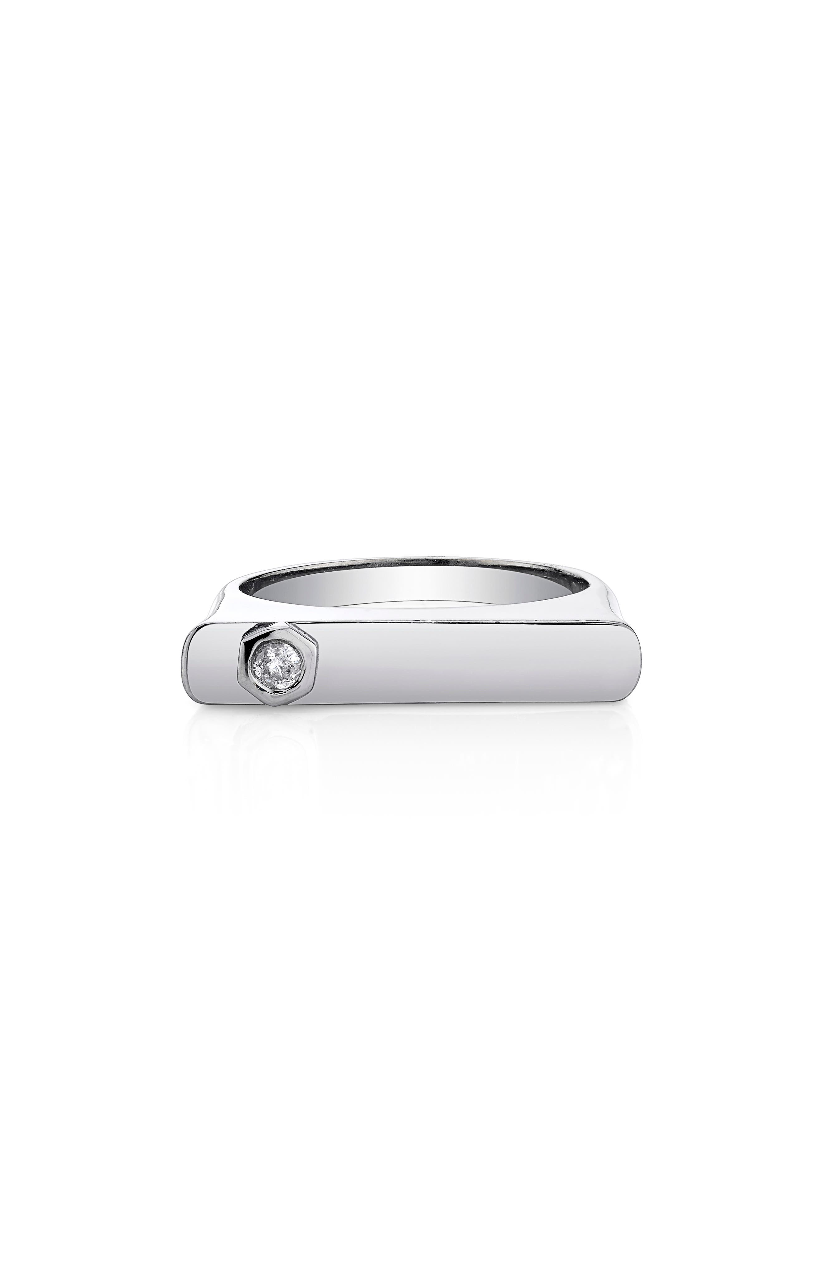 Bezel Diamond Bar Ring in Sterling Silver