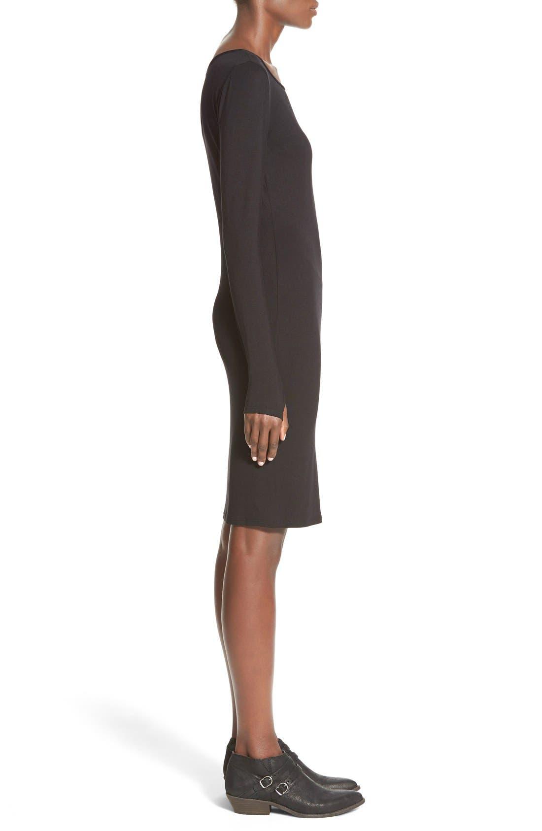 Stripe Long Sleeve Body-Con Dress,                             Alternate thumbnail 4, color,                             001