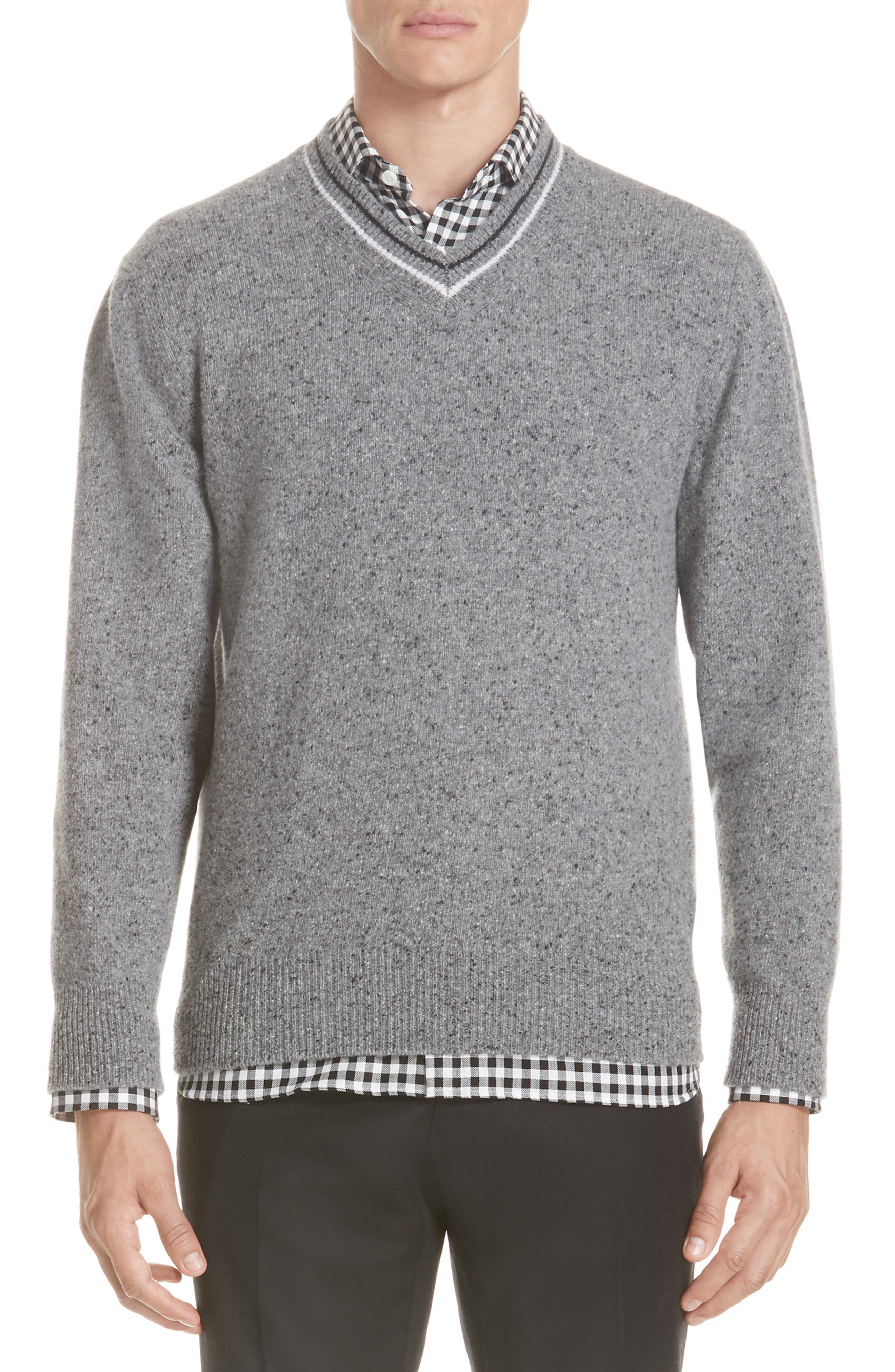 Trim Fit V-Neck Wool & Cashmere Sweater,                             Main thumbnail 1, color,                             GREY