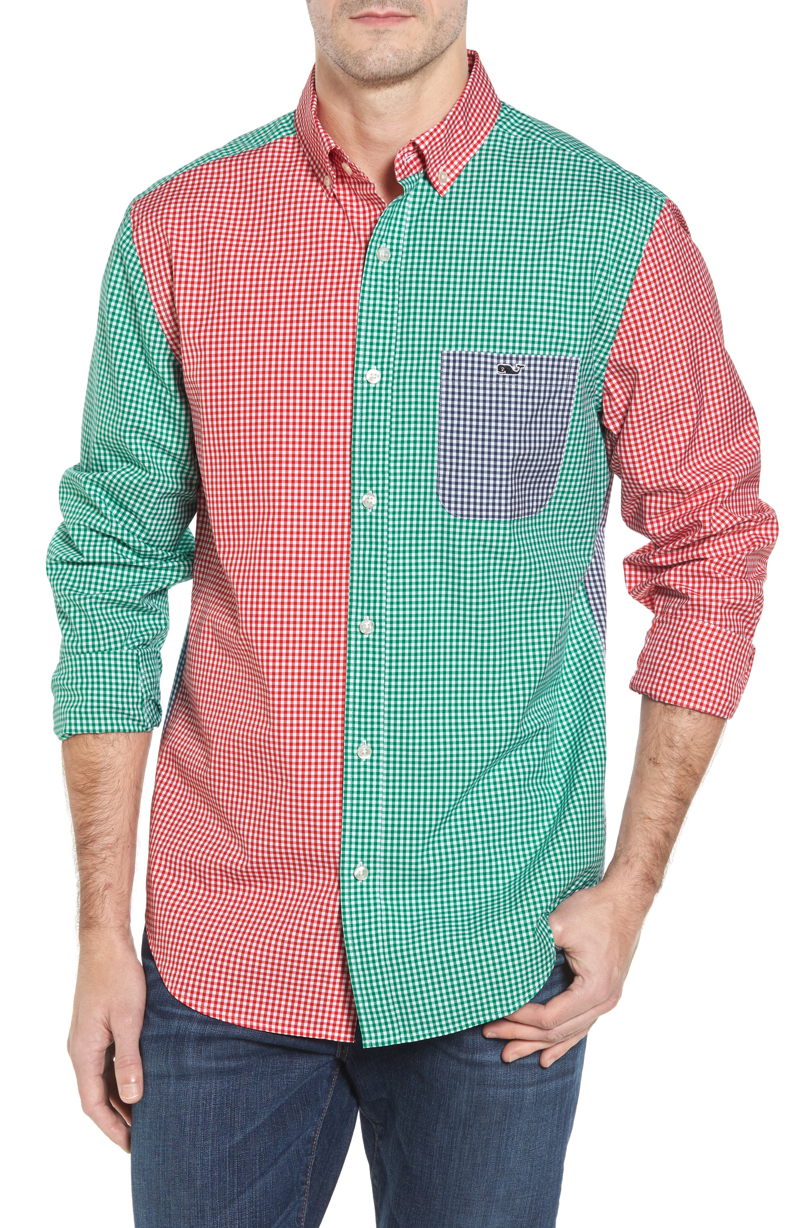 Holiday Party Classic Fit Colorblock Sport Shirt,                         Main,                         color, 600