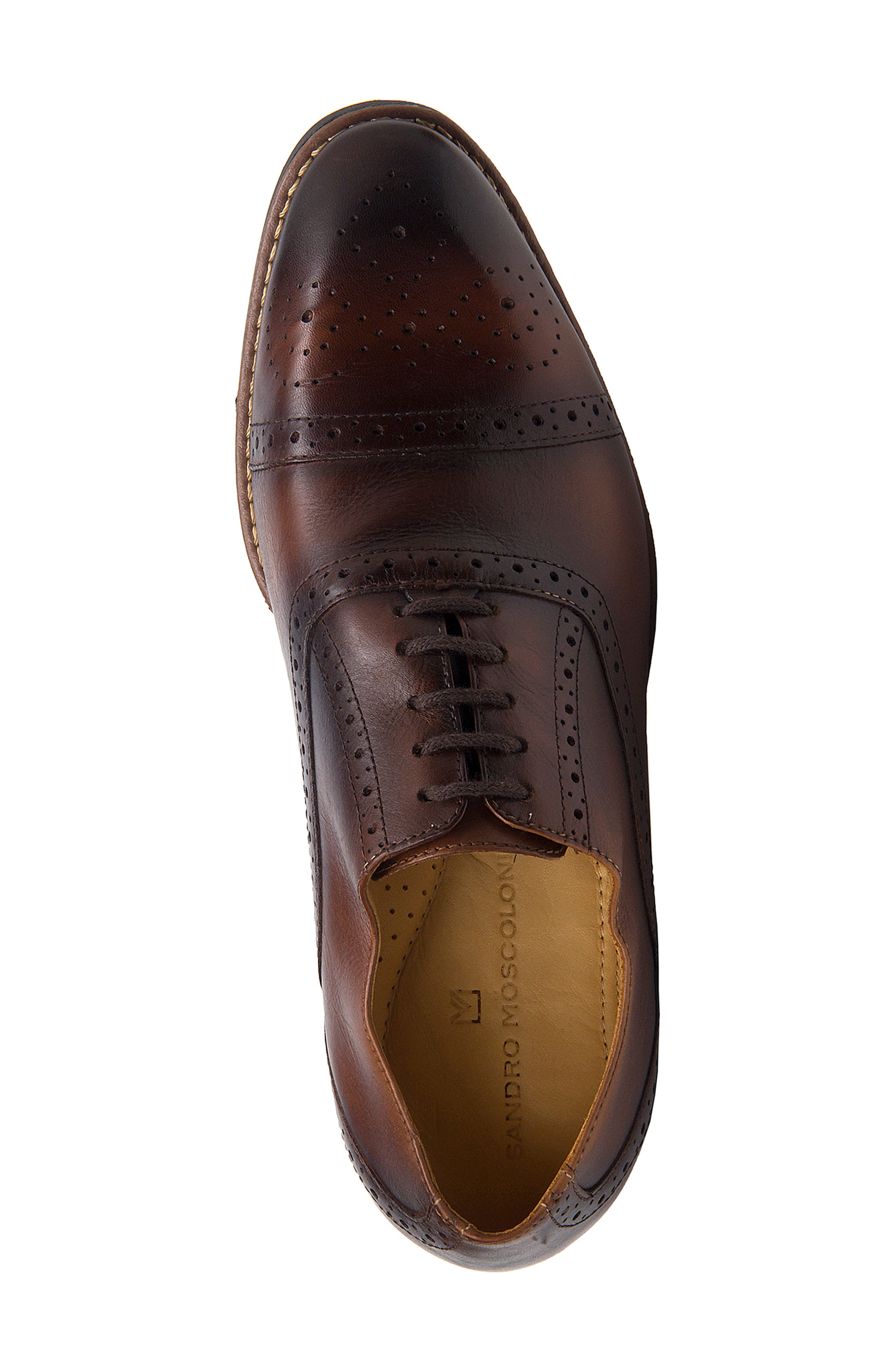 SANDRO MOSCOLONI,                             Murali Cap Toe Oxford,                             Alternate thumbnail 5, color,                             BROWN LEATHER