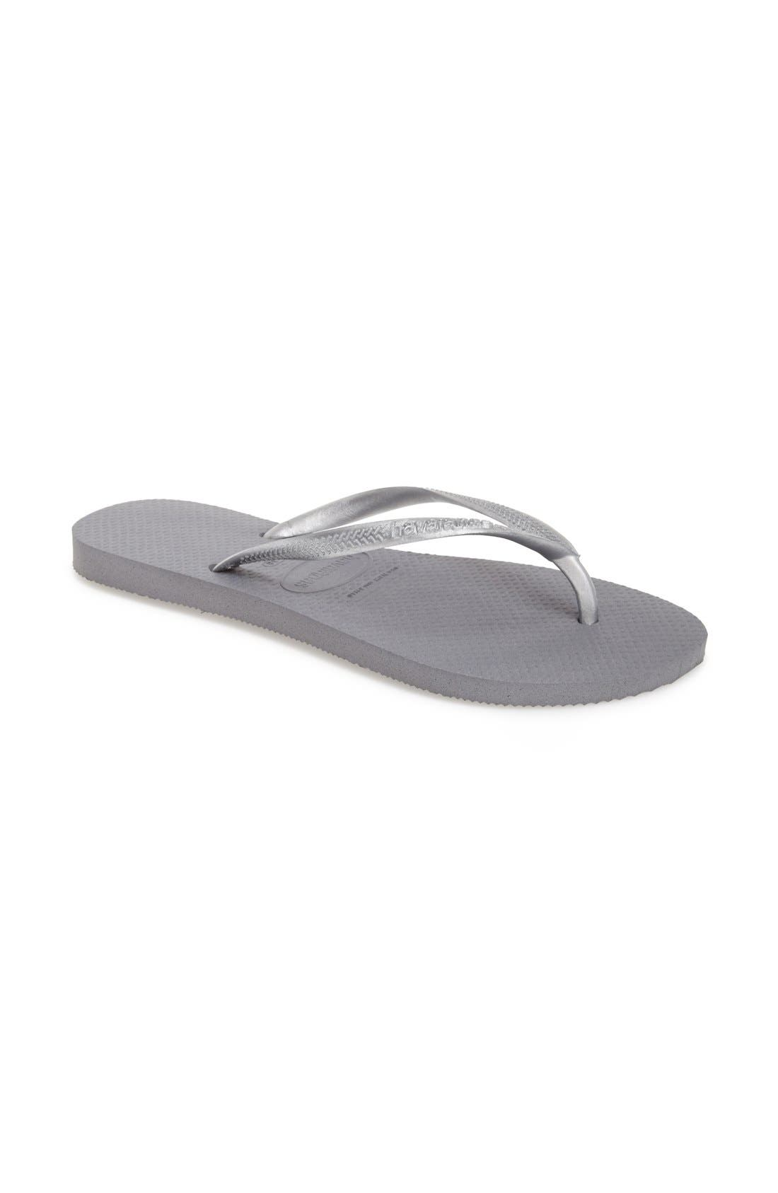 'Slim' Flip Flop,                             Main thumbnail 1, color,                             STEEL GREY