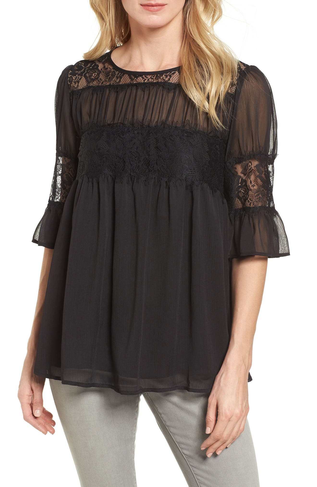 Lace Panel Pleated Blouse,                             Main thumbnail 1, color,