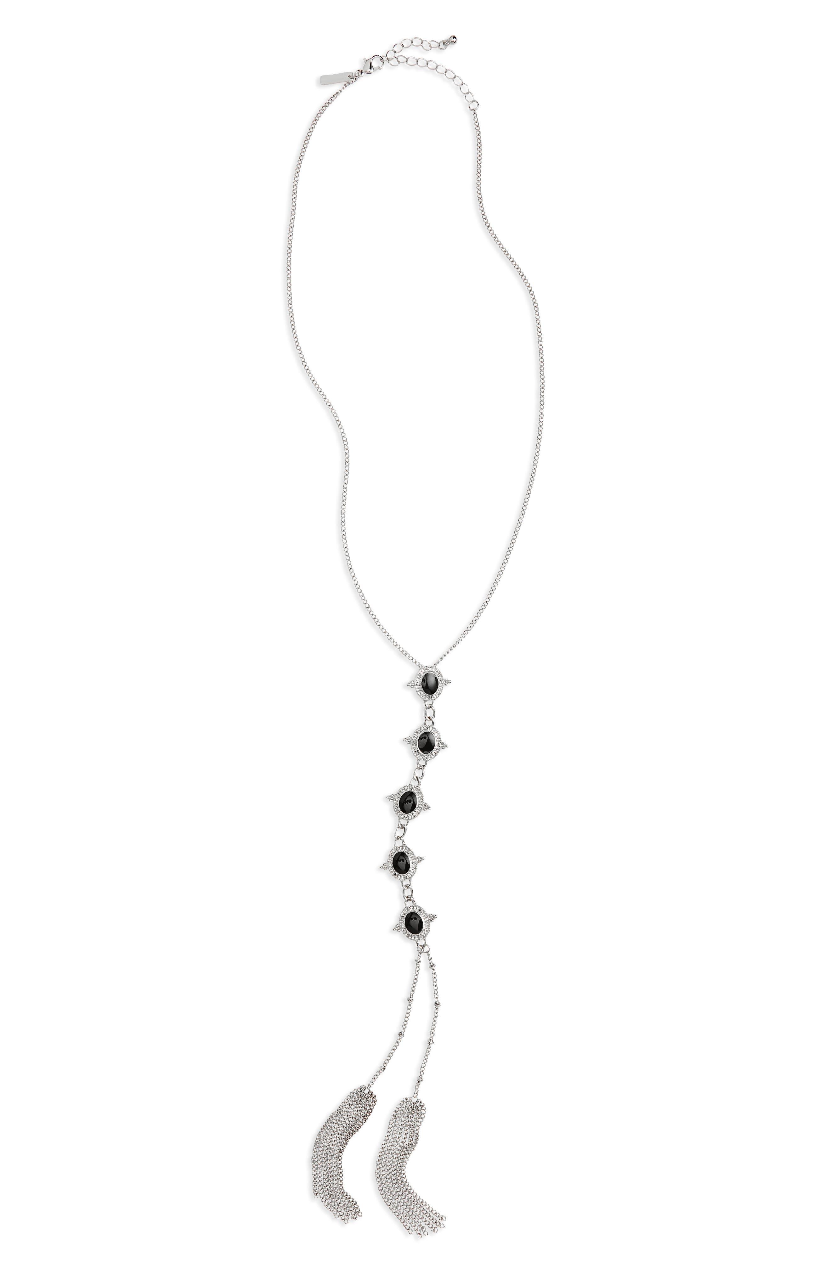 Jet Stone Y-Shape Necklace,                         Main,                         color, 040