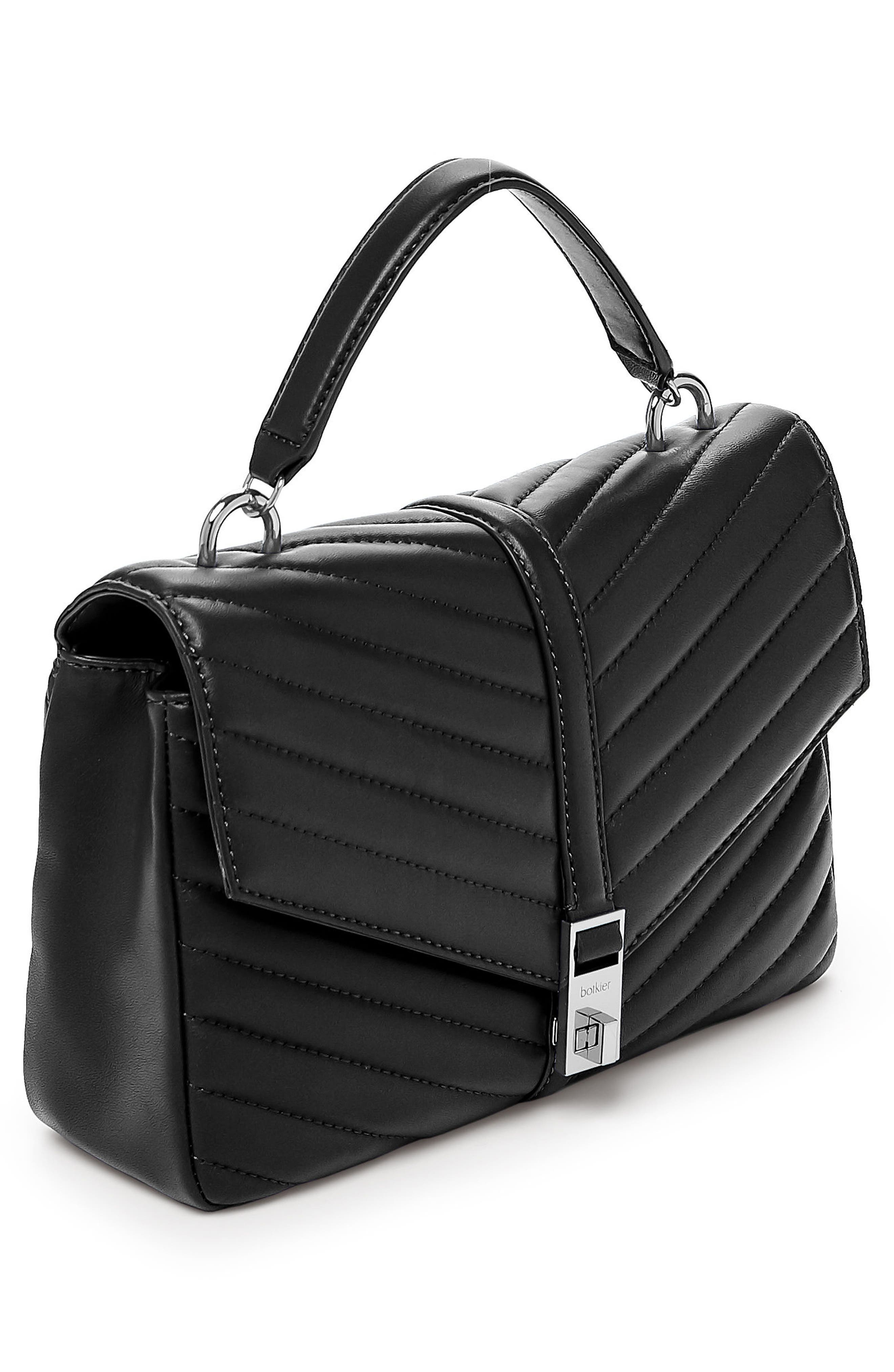 Dakota Quilted Leather Top Handle Bag,                             Alternate thumbnail 3, color,                             BLACK